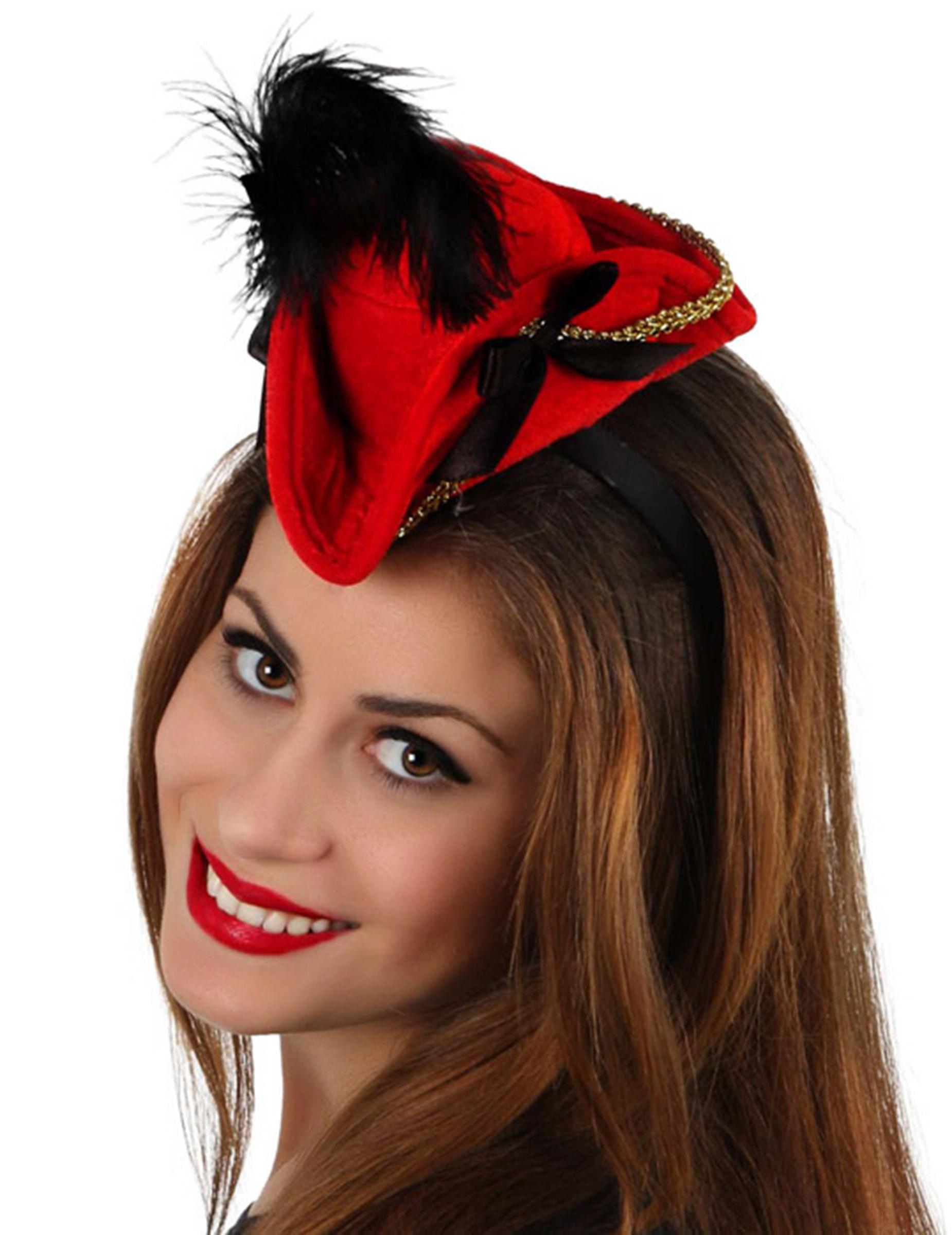 1995a5c6ccd04 Serre-tête mini chapeau pirate rouge