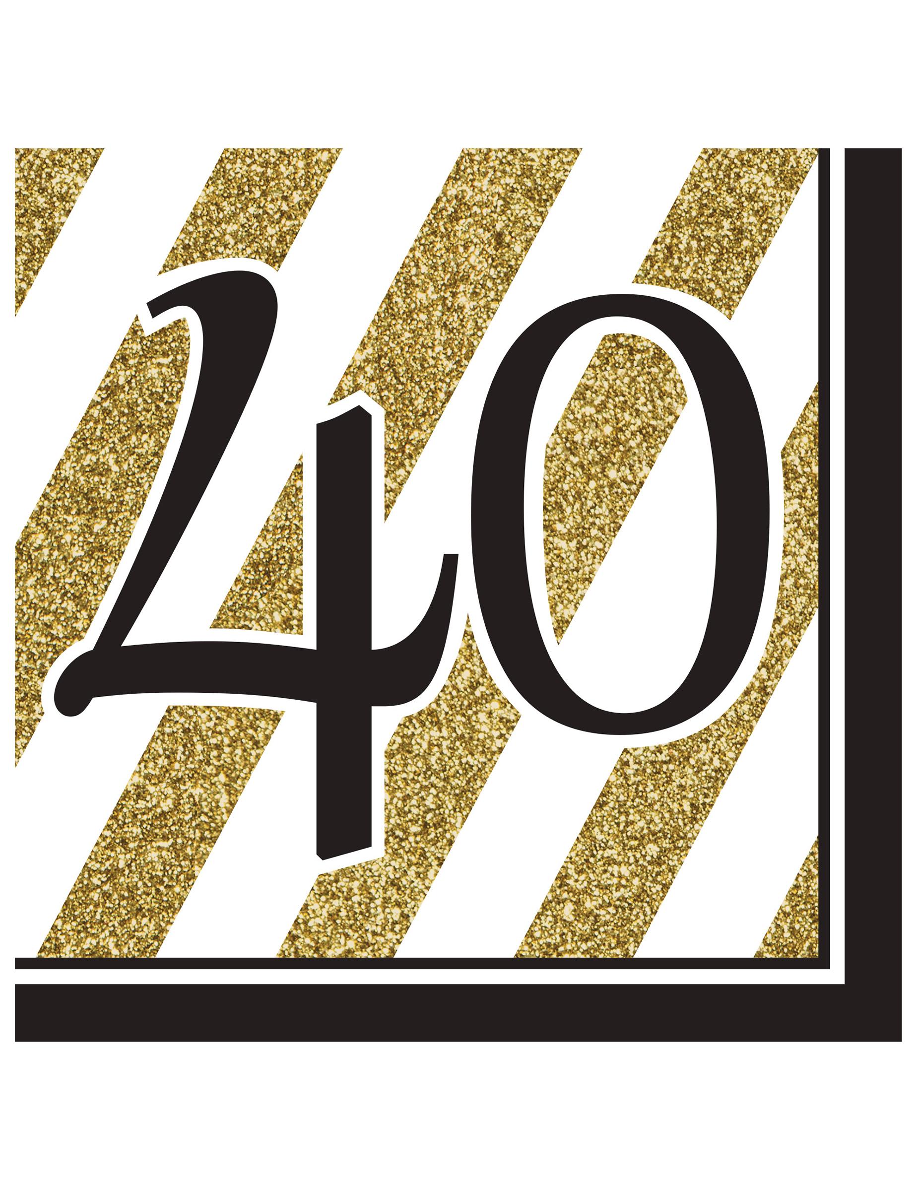 16 serviettes 40 ans noir et or 33 x 33 cm deguise toi achat de