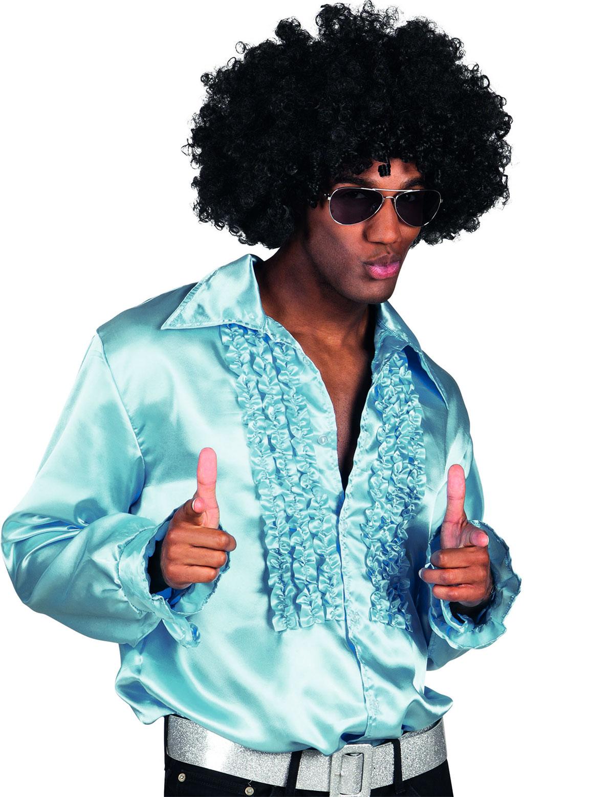 chemise disco bleu clair homme deguise toi achat de d guisements adultes. Black Bedroom Furniture Sets. Home Design Ideas