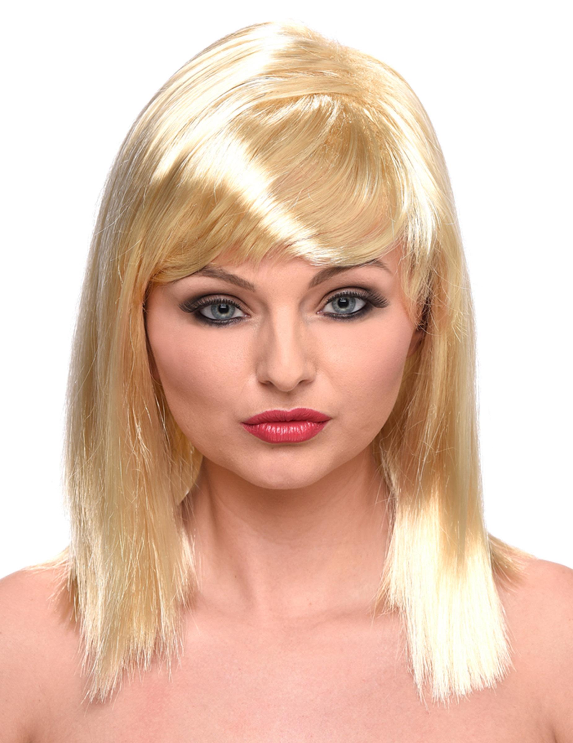 perruque blonde platine mi longue femme : deguise-toi, achat de