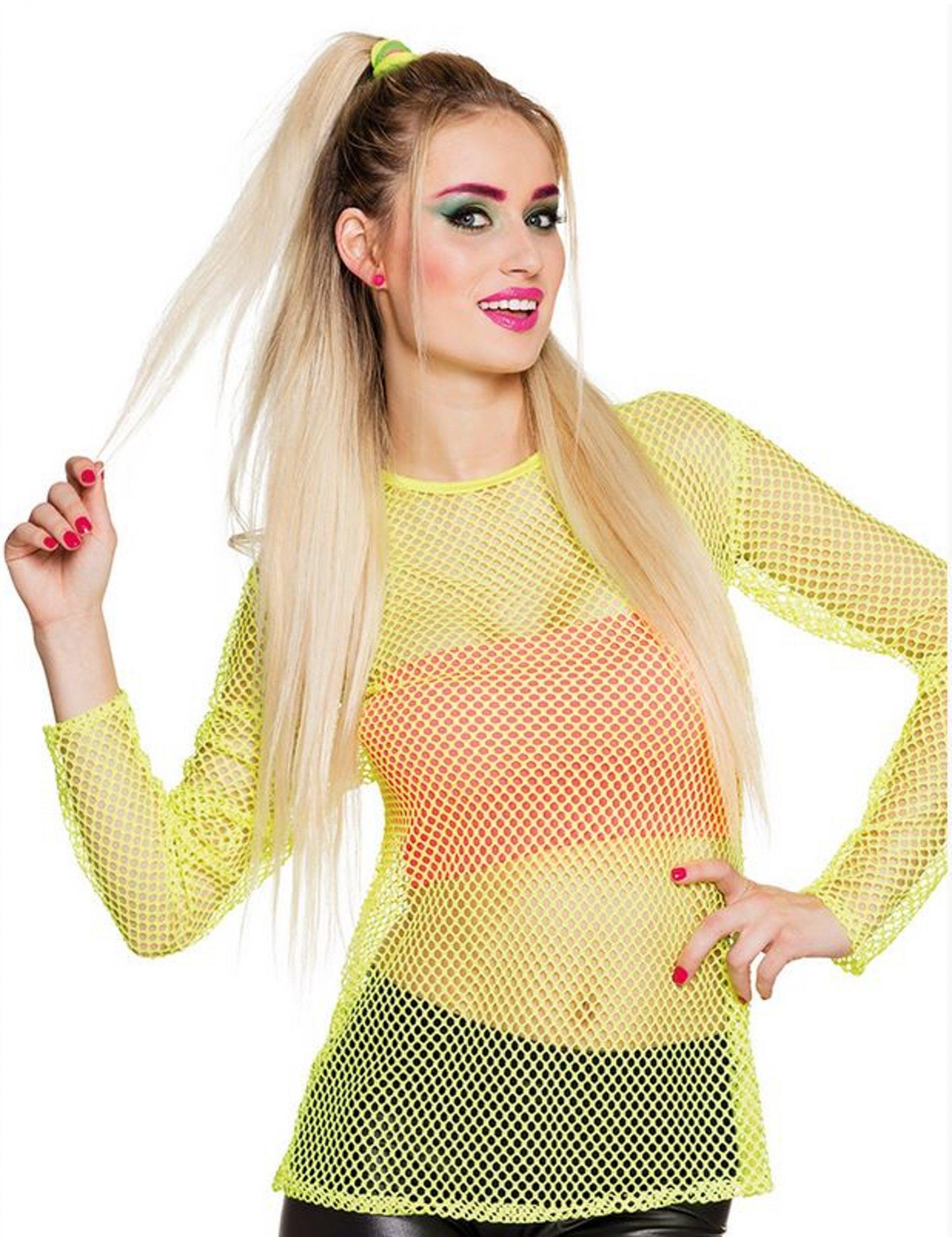 T shirt fluo jaune années 80 femme