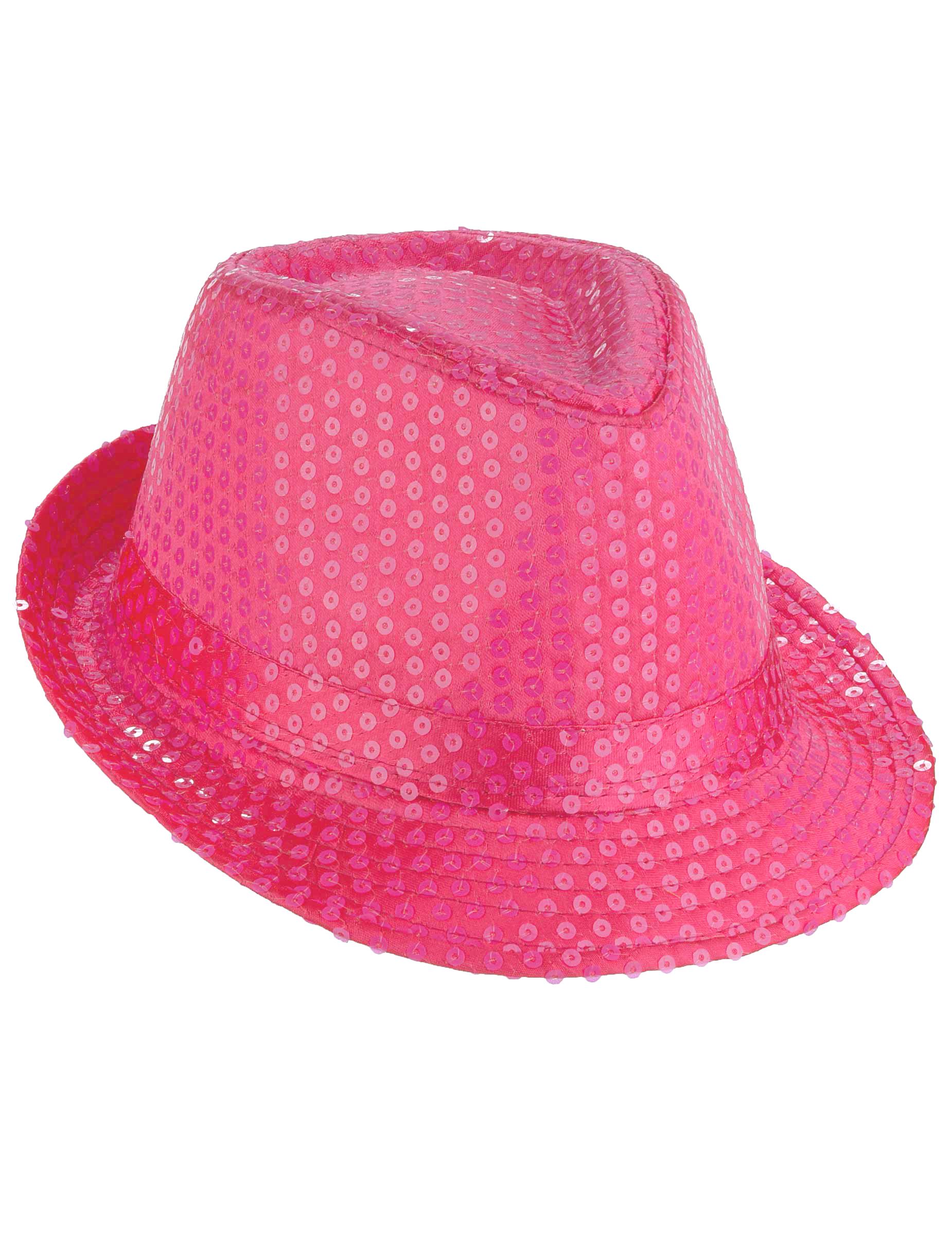 Chapeau borsalino à sequins rose fluo adulte   Deguise-toi, achat de ... 7f6b48aecec