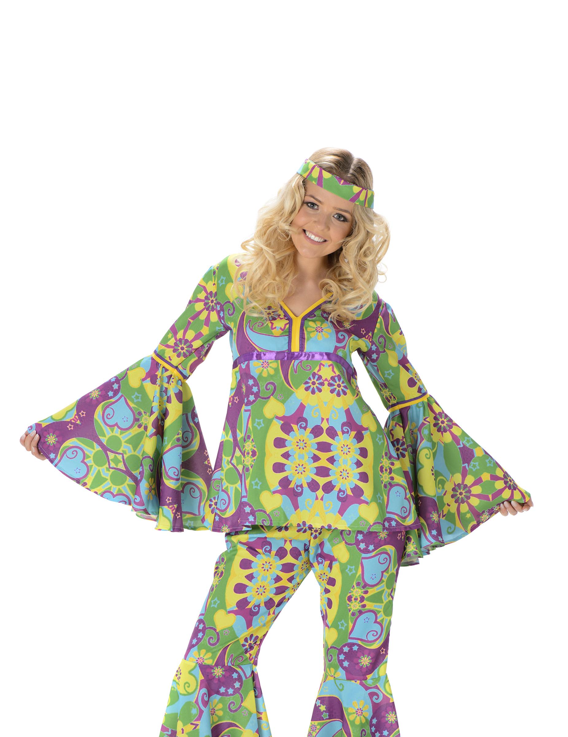 Déguisement hippie fleurs femme   Deguise-toi, achat de Déguisements ... c0eebeeb3a61