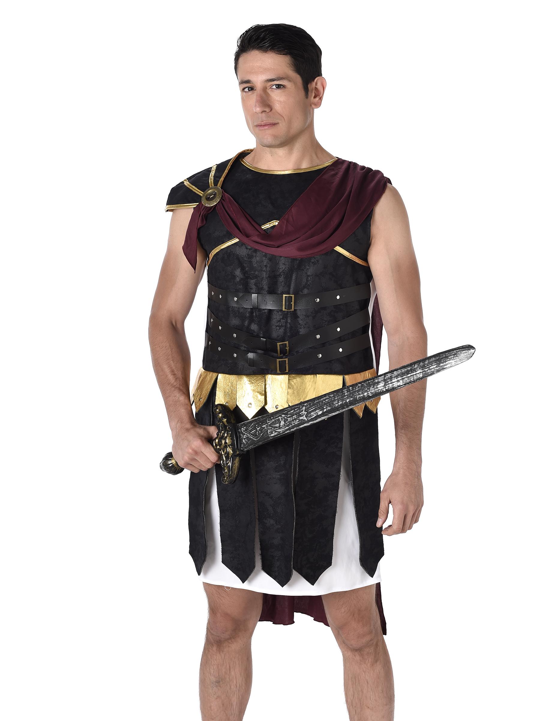 96ea7b9a4a927 Déguisement gladiateur Romain noire et doré homme : Deguise-toi ...