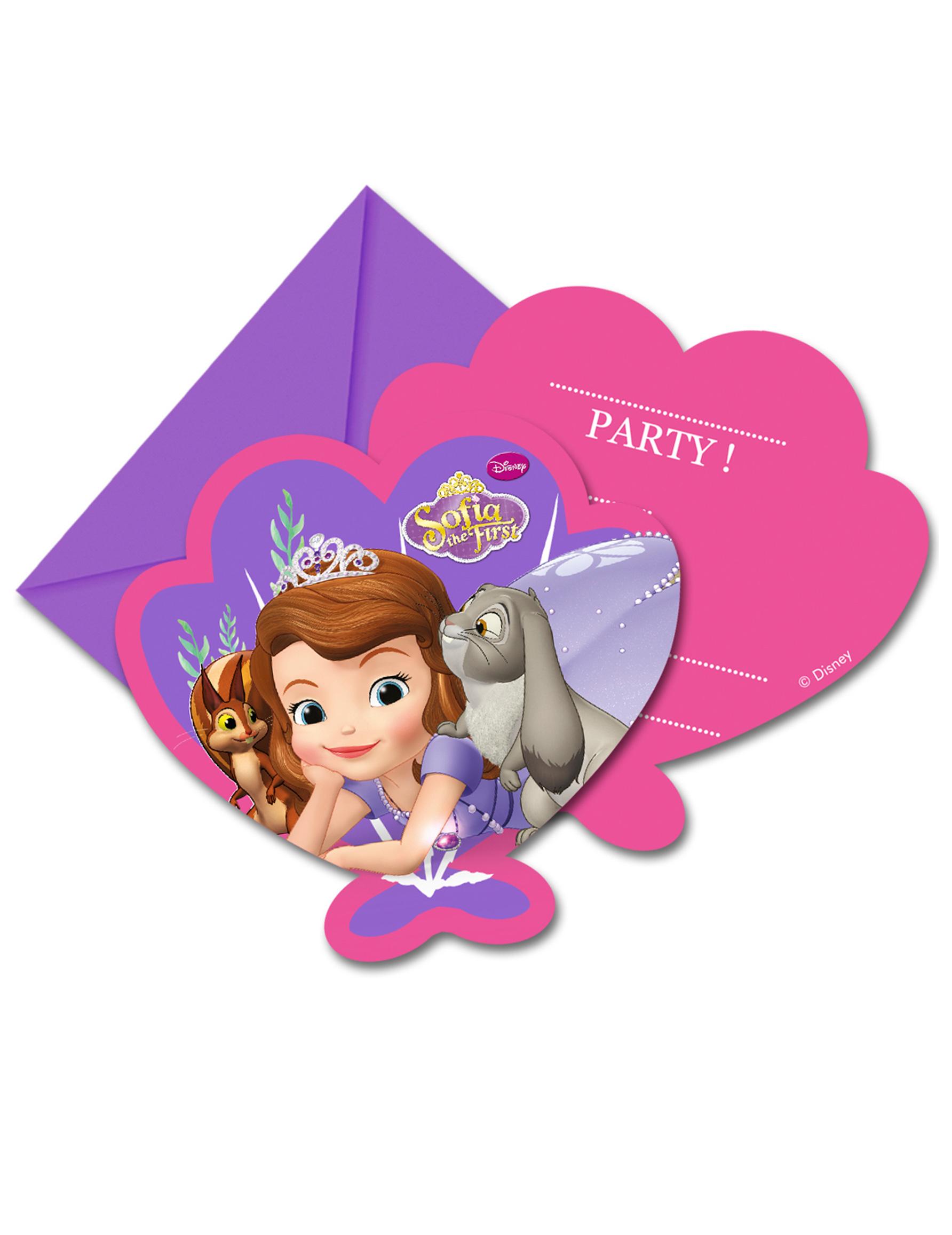6 Cartes D Invitation Avec Enveloppes Princesse Sofia Deguise Toi