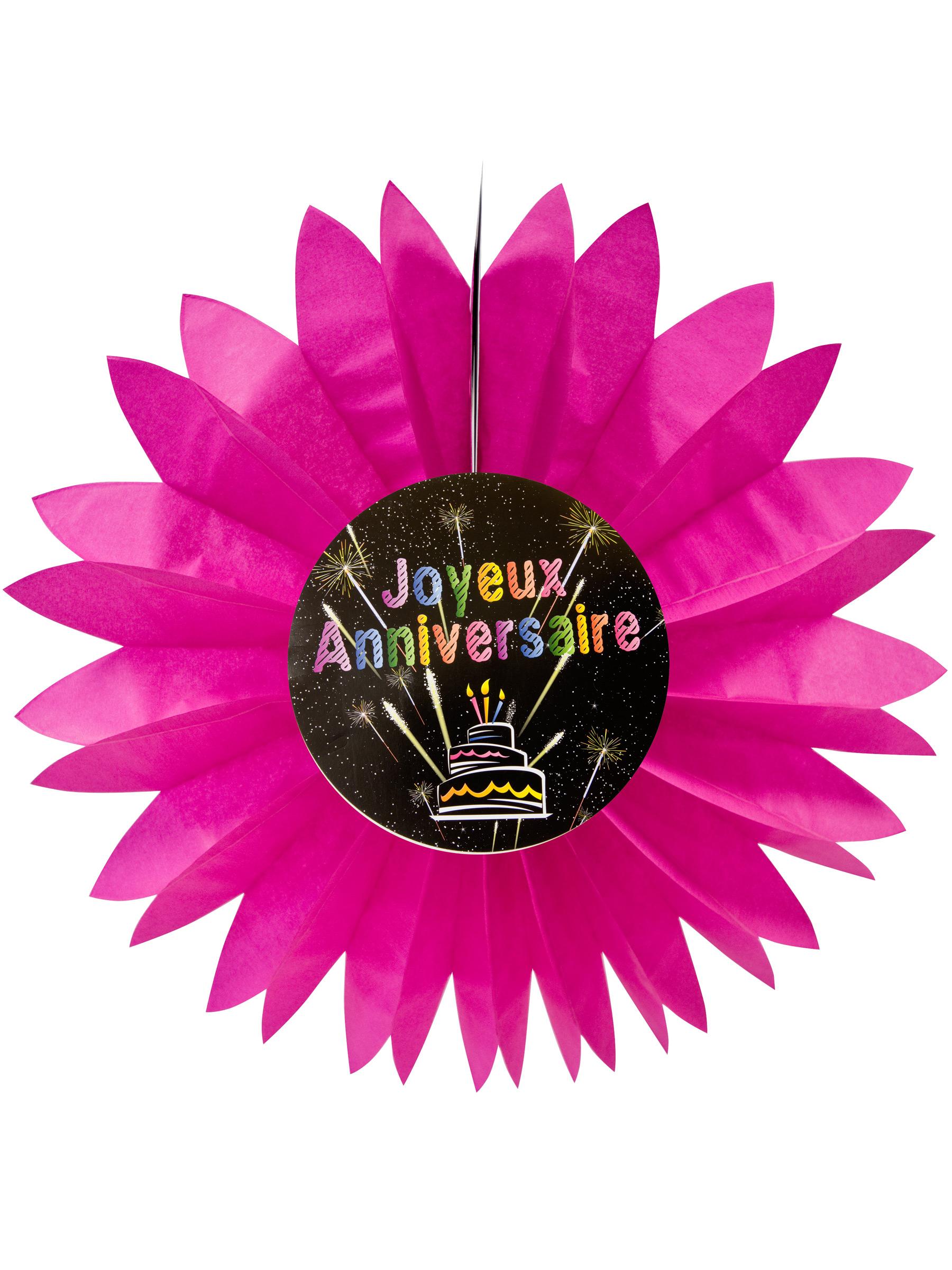 Eventail Papier Joyeux Anniversaire Feux D Artifice Rose 50 Cm