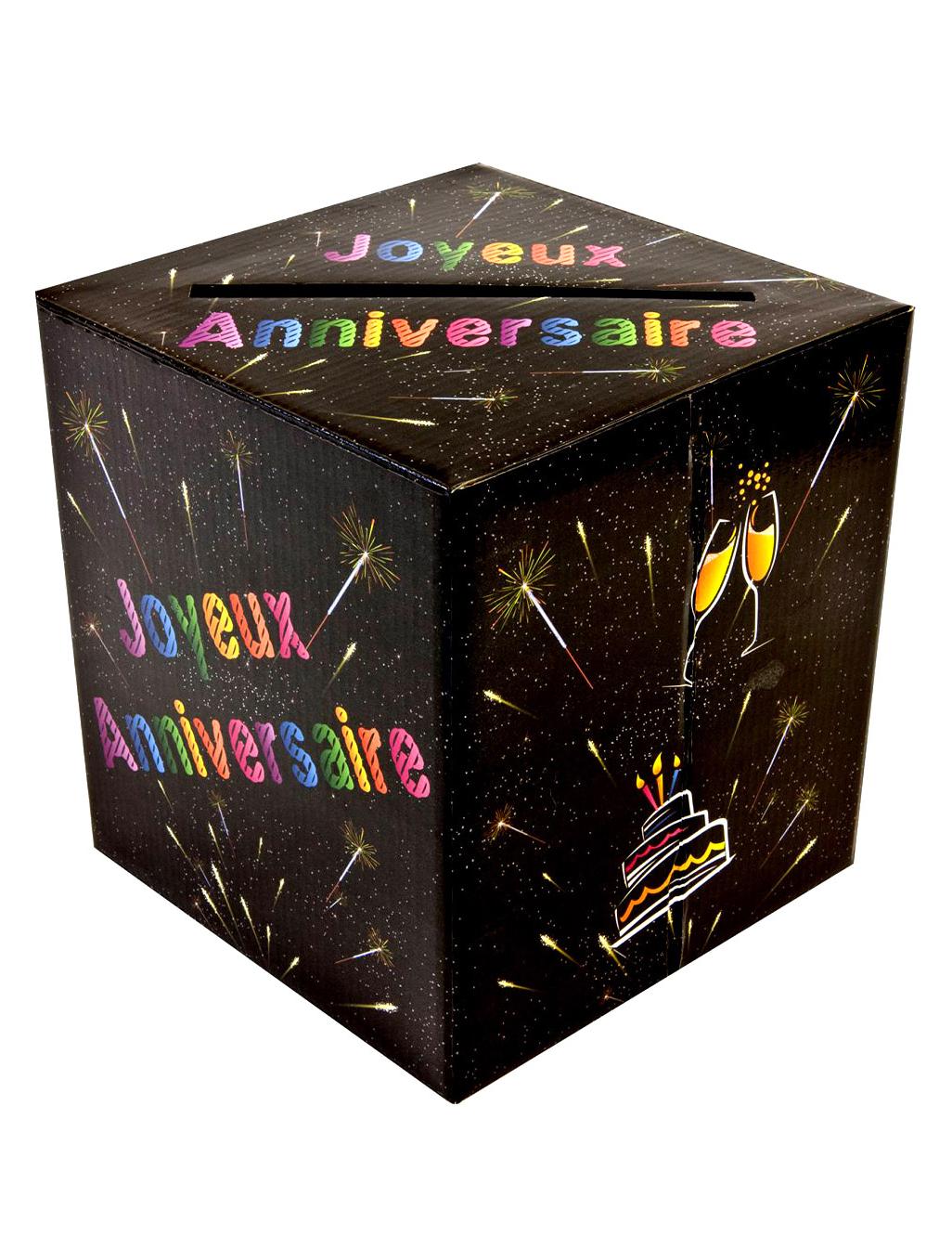 Tirelire urne joyeux anniversaire chic deguise toi - Decorer boite carton pour anniversaire ...