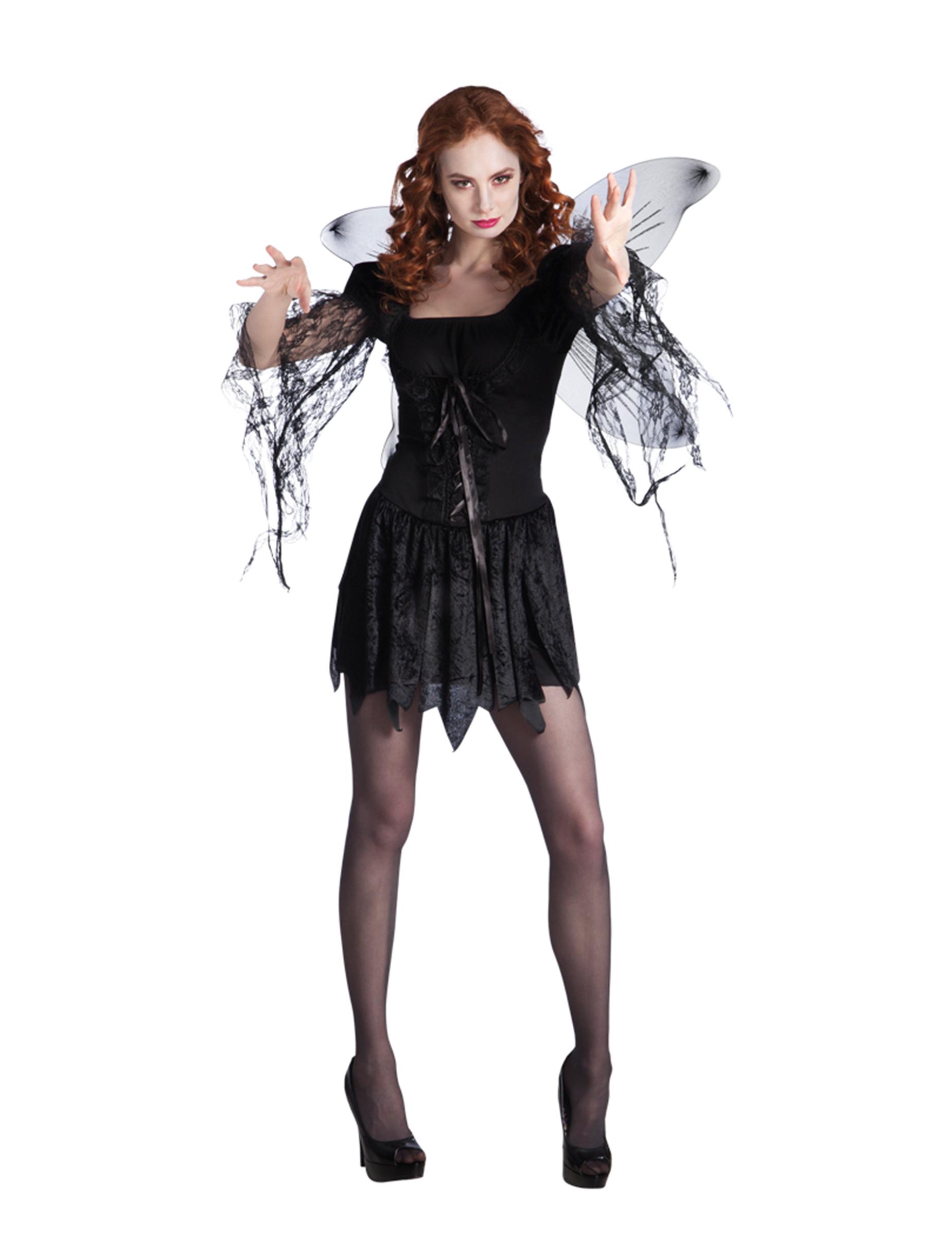 d guisement ange noir avec ailes femme halloween deguise toi achat de d guisements adultes. Black Bedroom Furniture Sets. Home Design Ideas