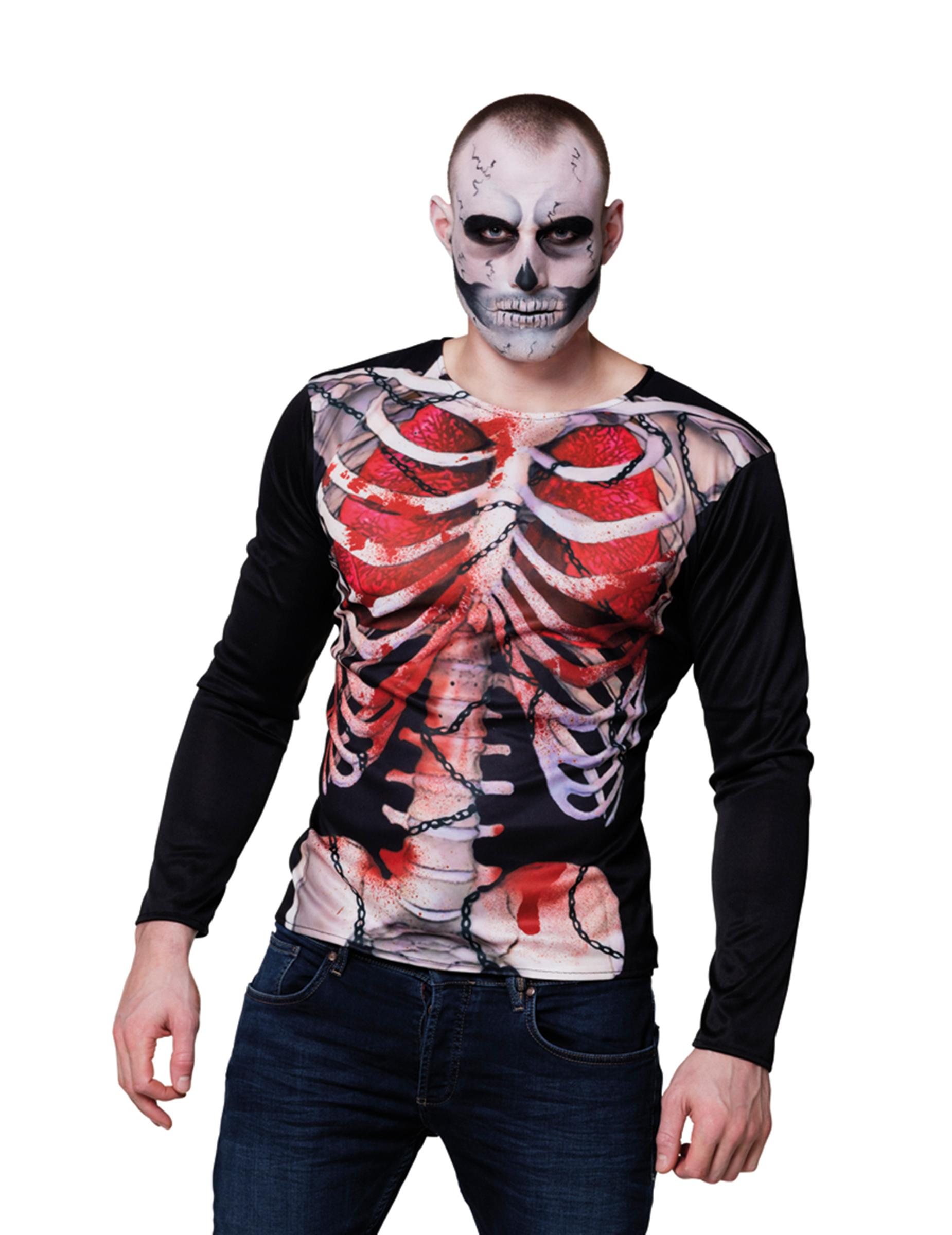 t shirt manches longues squelette sanglant homme halloween deguise toi achat de d guisements. Black Bedroom Furniture Sets. Home Design Ideas
