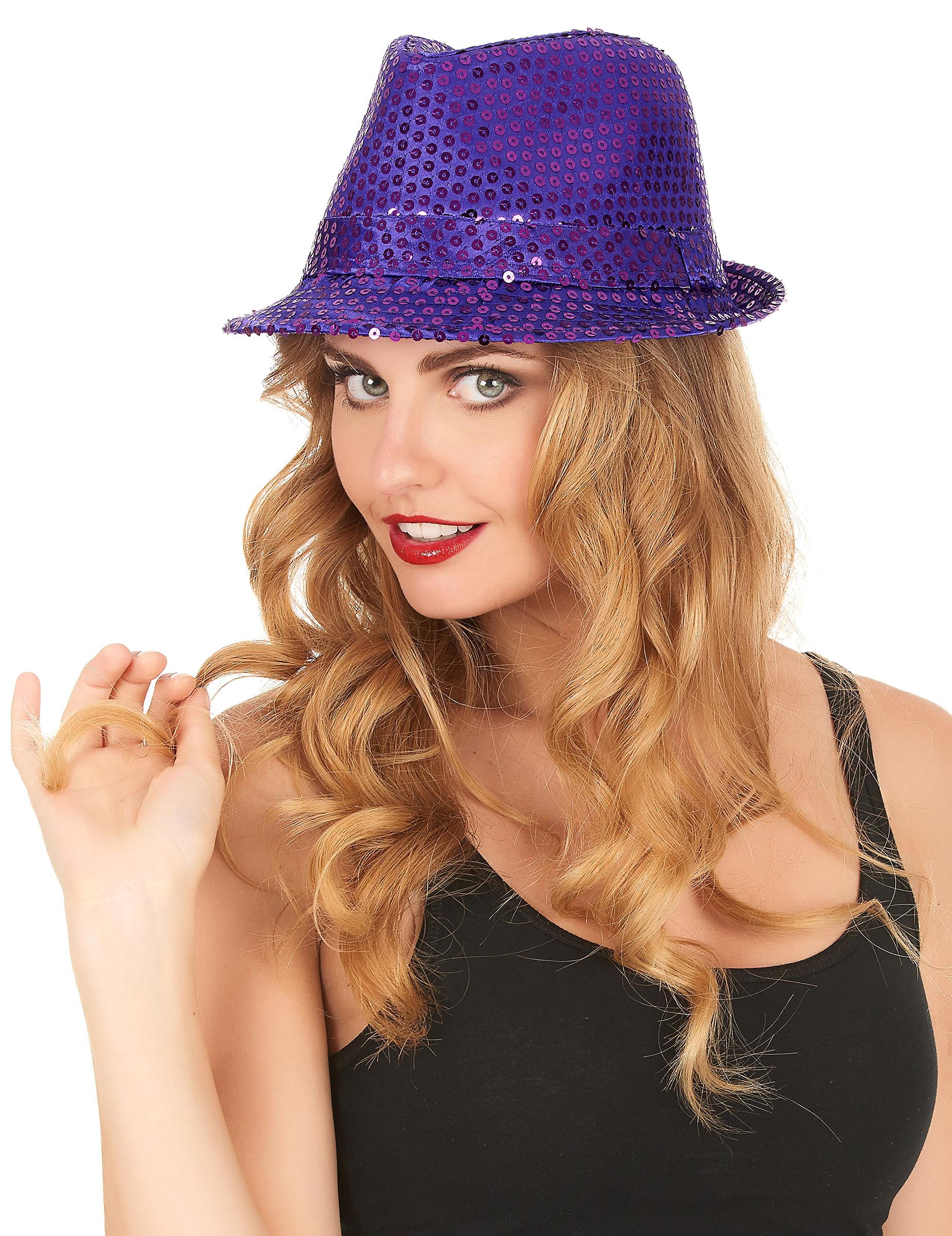 Chapeau borsalino à sequins violet adulte   Deguise-toi, achat de ... 705a3d6cb8b