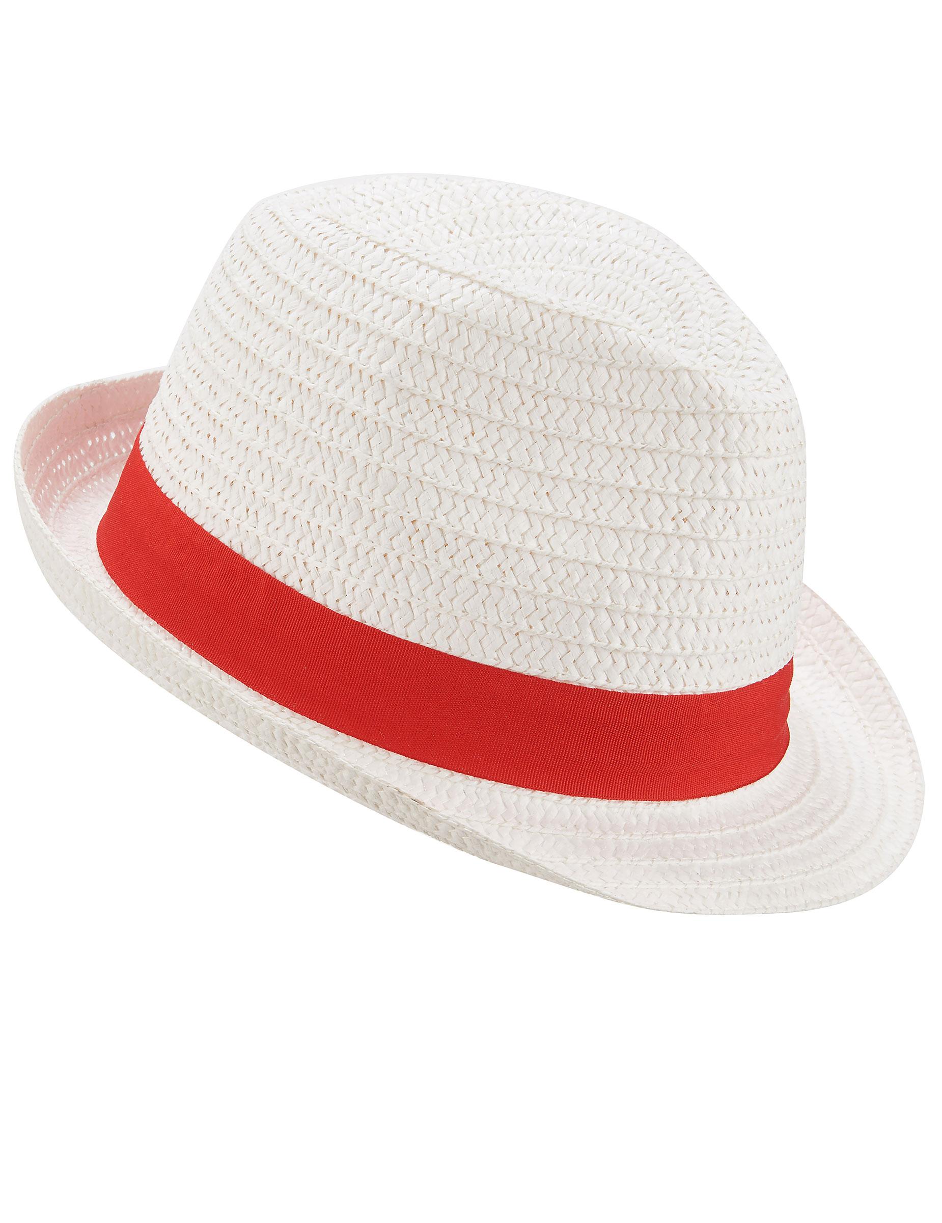 da2a131e984 Chapeau borsalino blanc avec bande rouge adulte   Deguise-toi