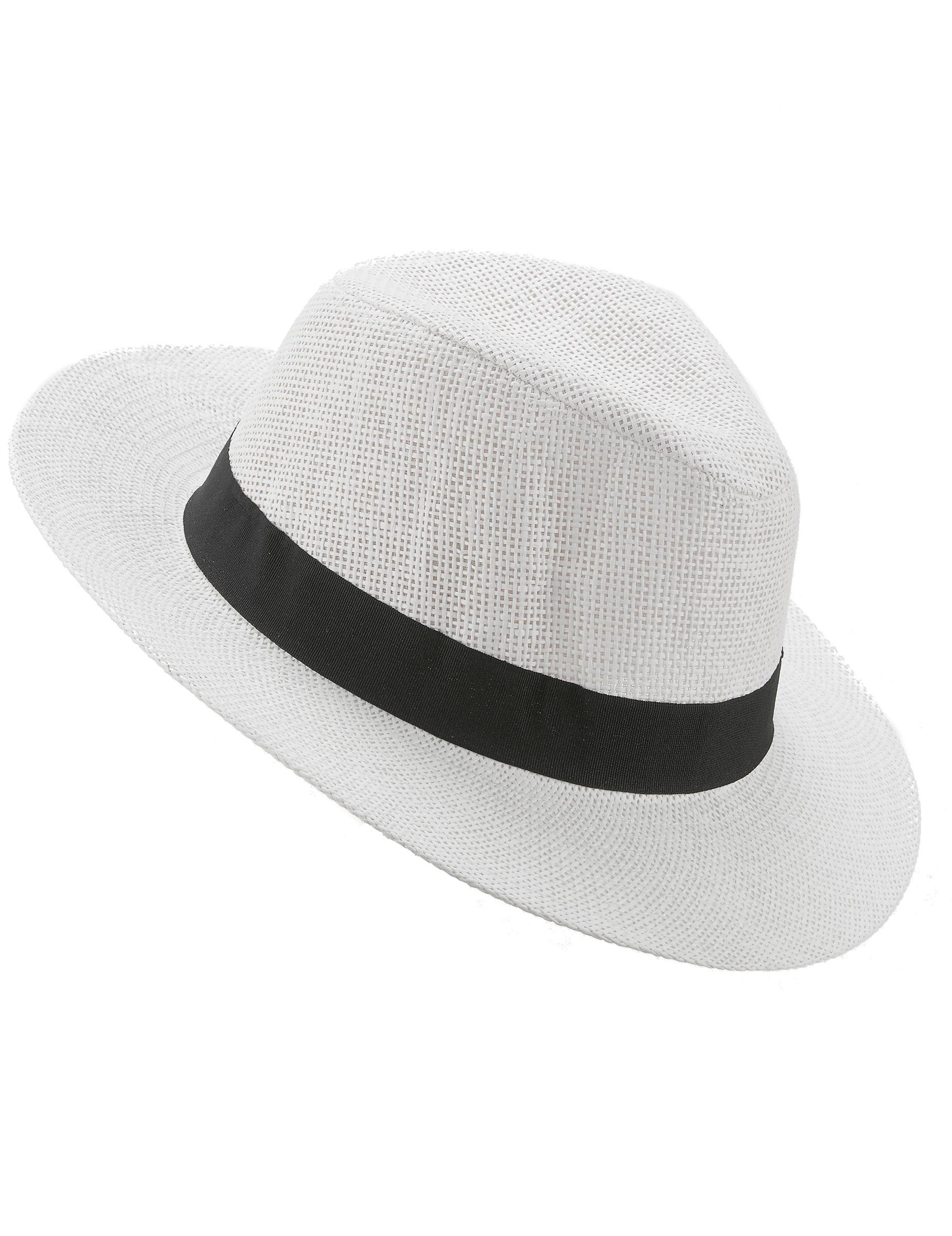 vente chaude boutique officielle de gros Chapeau Panama blanc avec bande noire adulte