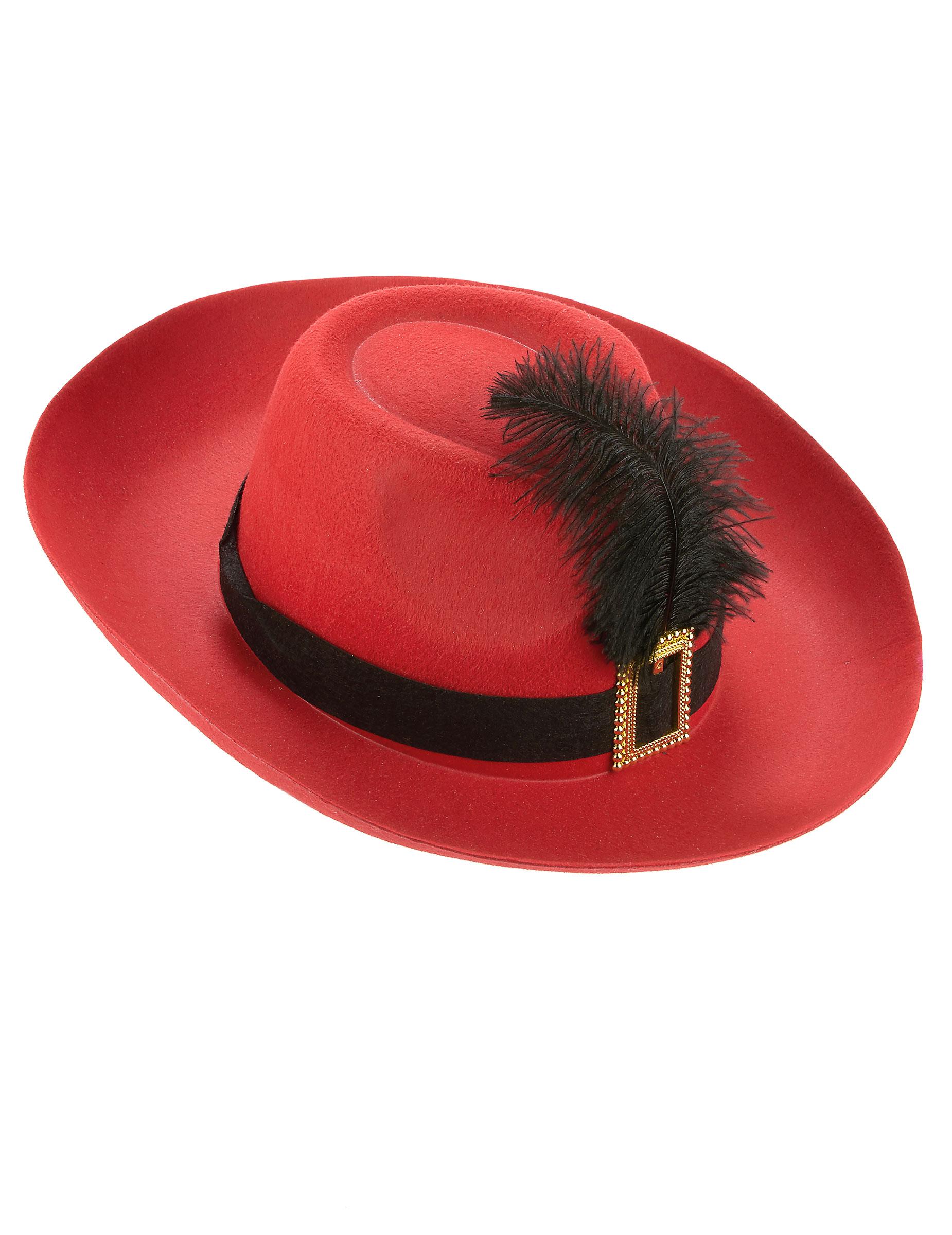 bf505645ad1 Chapeau mousquetaire rouge bande et plume noires adulte   Deguise ...