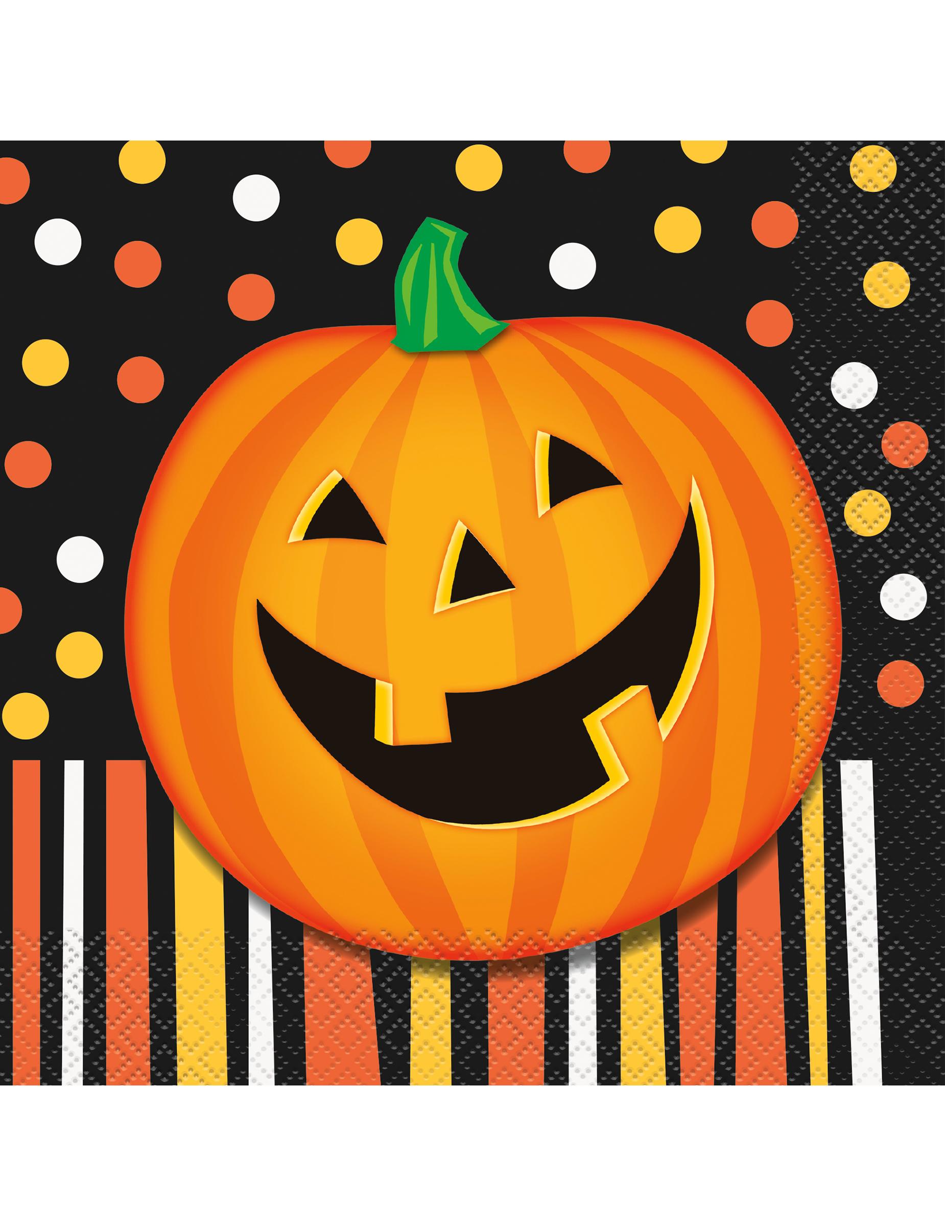 Genial 16 Serviettes En Papier Citrouille Souriante Halloween 33 Cm