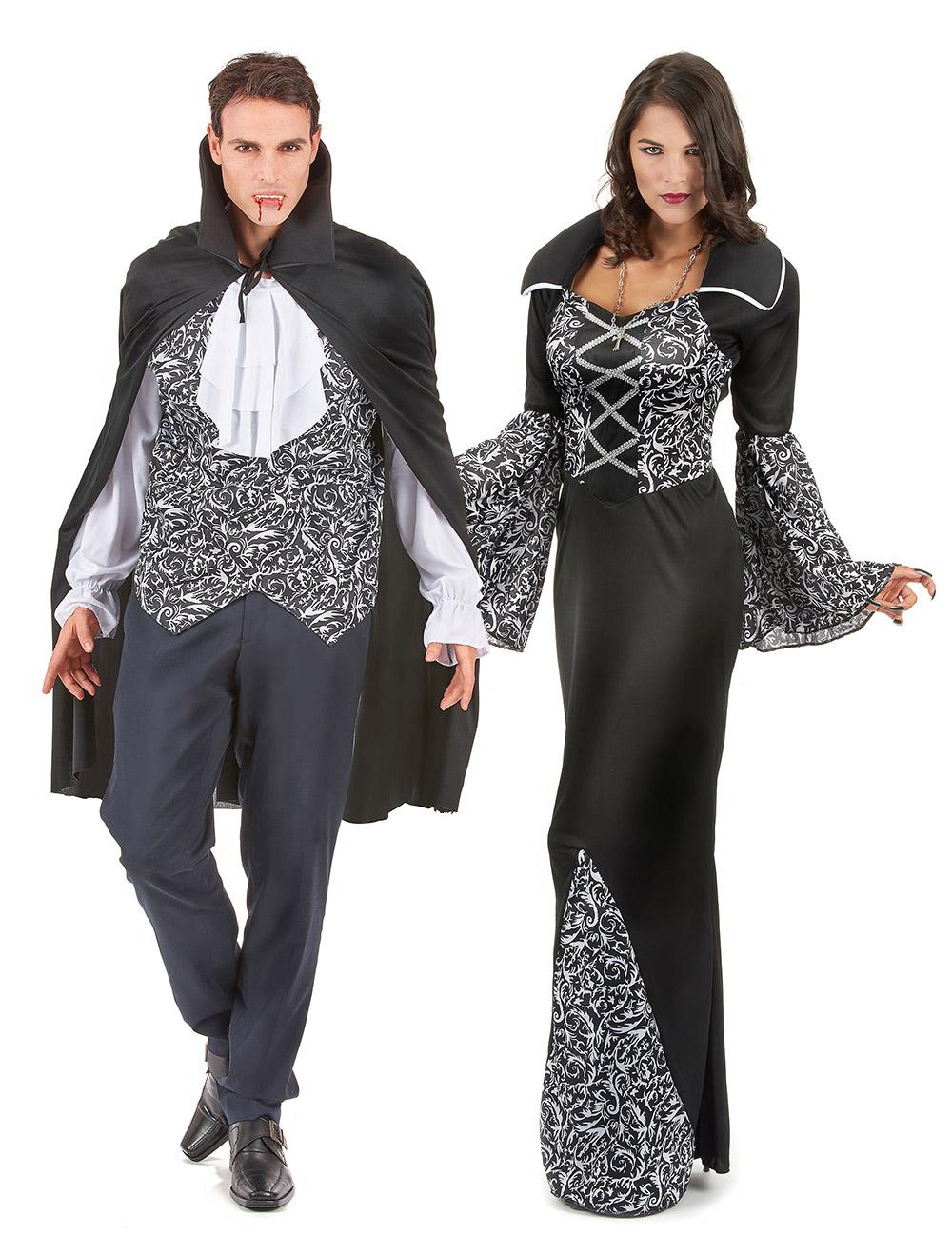 d guisement de couple vampire noir et blanc halloween. Black Bedroom Furniture Sets. Home Design Ideas