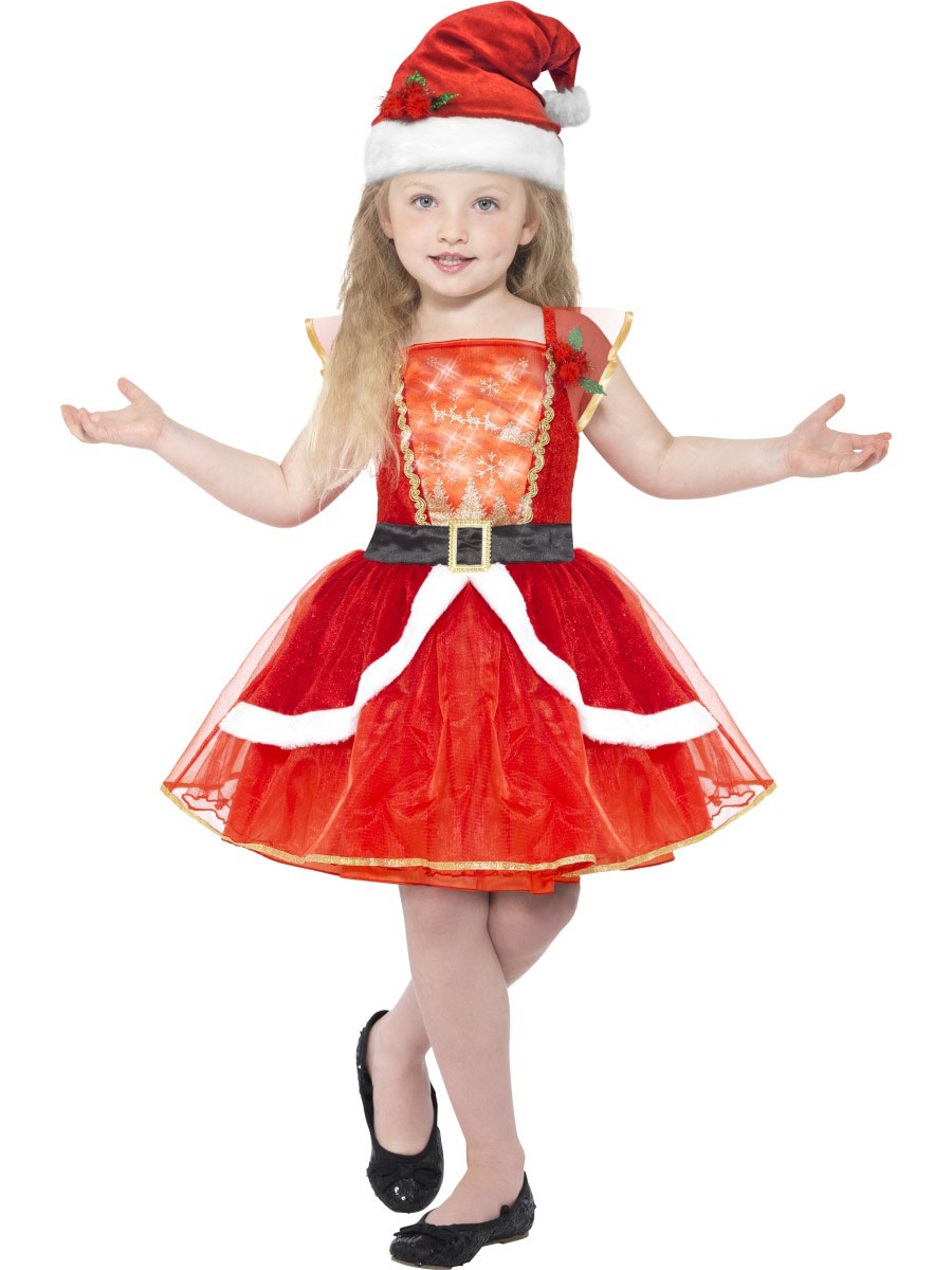 D guisement robe rouge lumineuse avec chapeau fille no l for Robes de noel uk