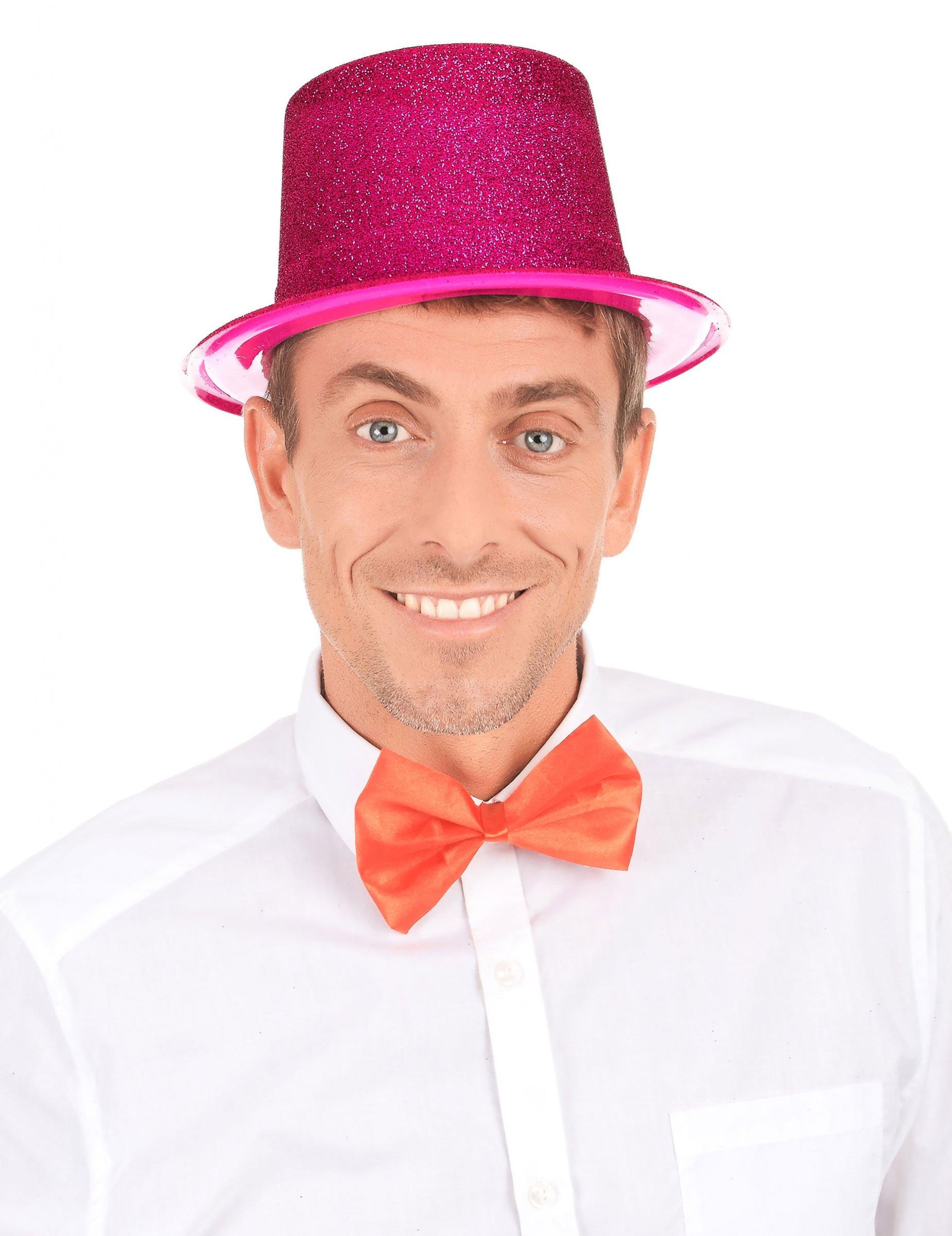 Quickdraw Paillettes Rose Plastique Chapeau Haut-De-Forme Adultes Accessoire D/éguisement