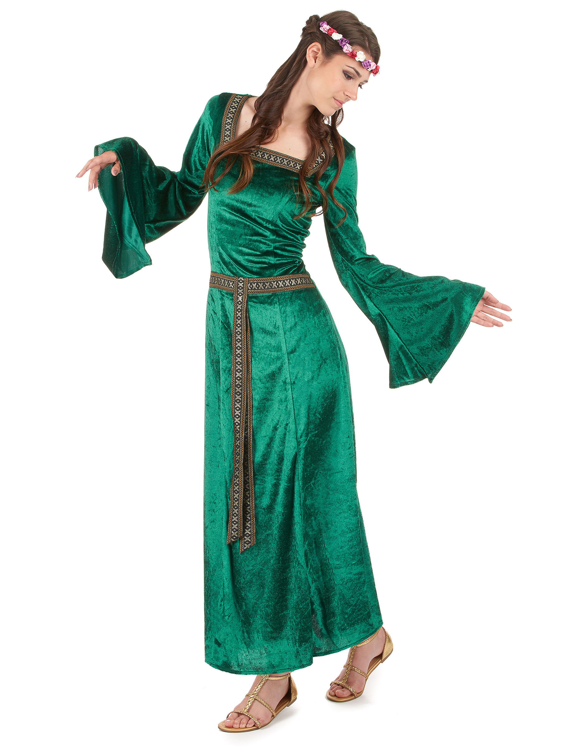 bf09d3a01ff Déguisement médiéval vert effet velours femme   Deguise-toi