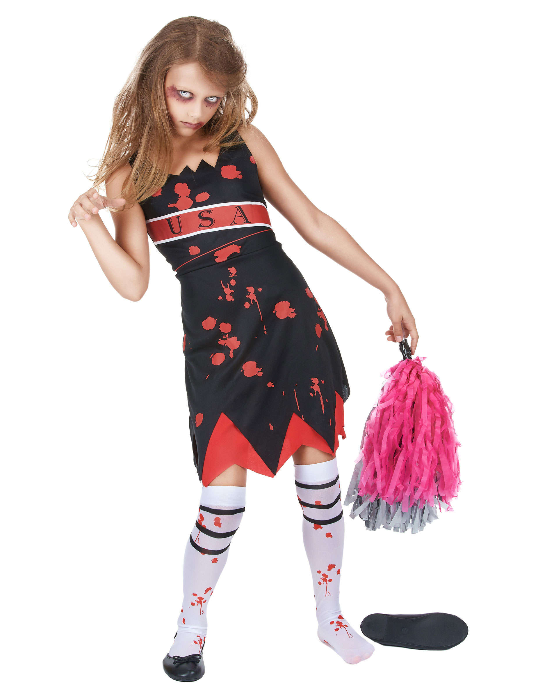 d guisement pompom girl zombie fille halloween deguise. Black Bedroom Furniture Sets. Home Design Ideas