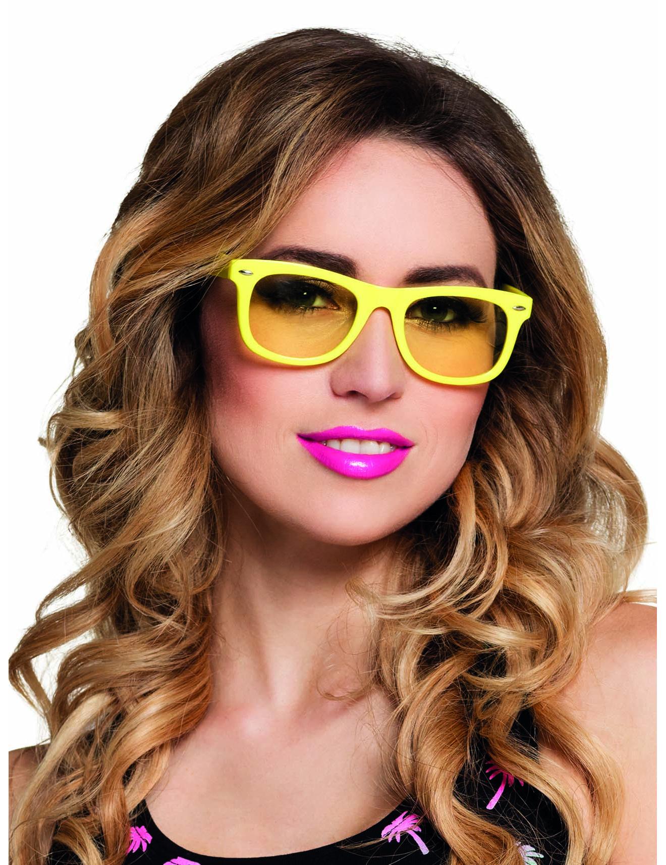 Lunettes jaune fluo 80 s adulte   Deguise-toi, achat de Accessoires cb26fc7fe96c