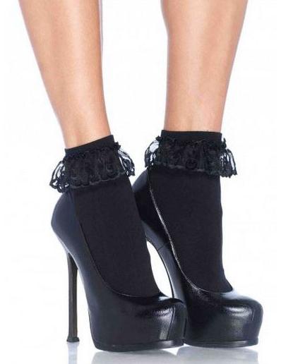 2aa338a8d58 Socquettes noires avec dentelle femme   Deguise-toi