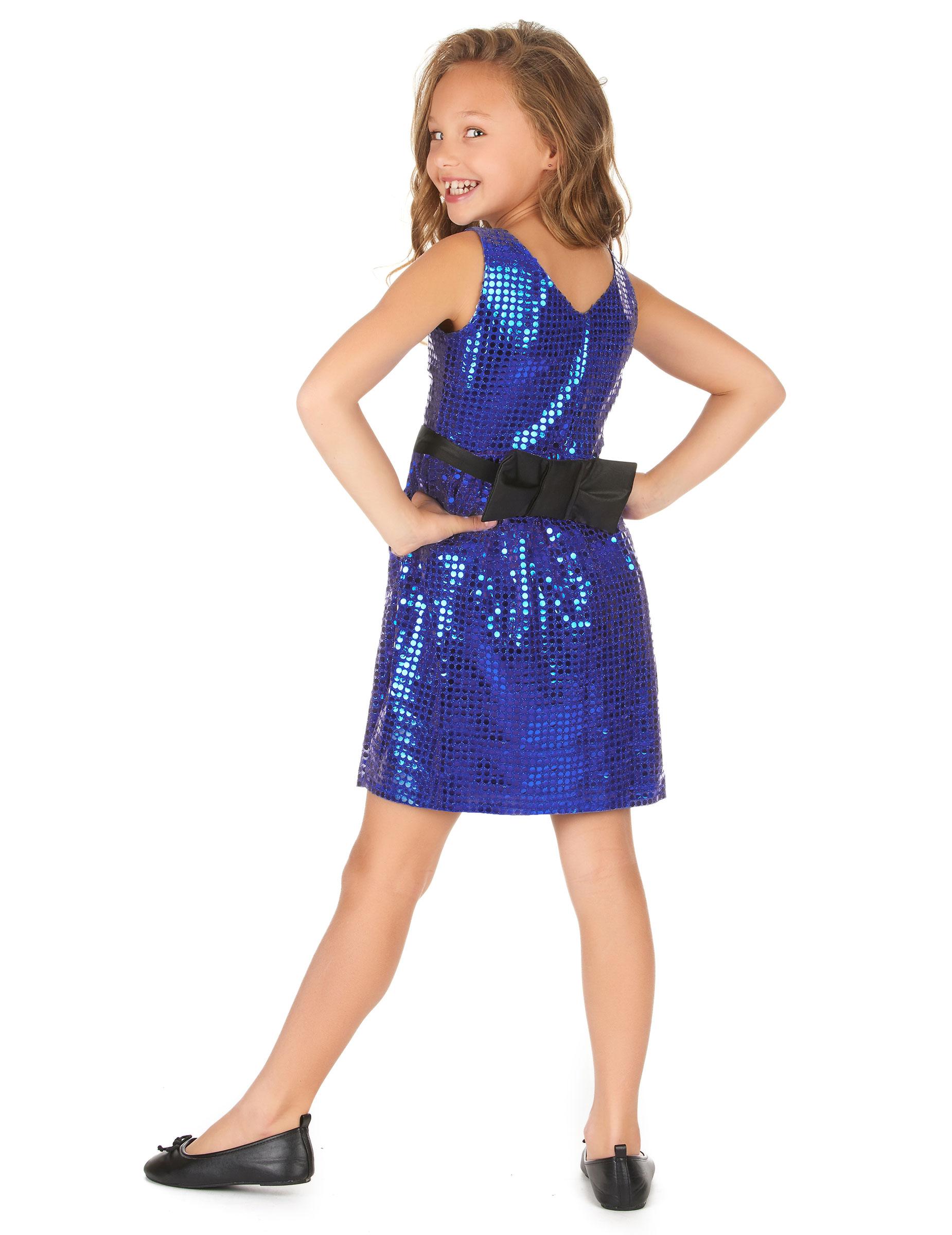 Déguisement robe disco bleue paillette avec gros noeud fille ... 575d769a844b