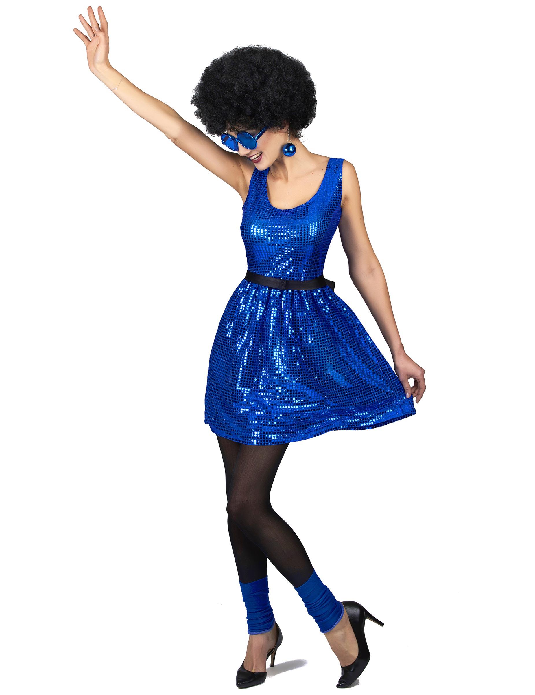 Déguisement robe disco bleue paillette avec gros noeud femme ... f762c6c6e5dd