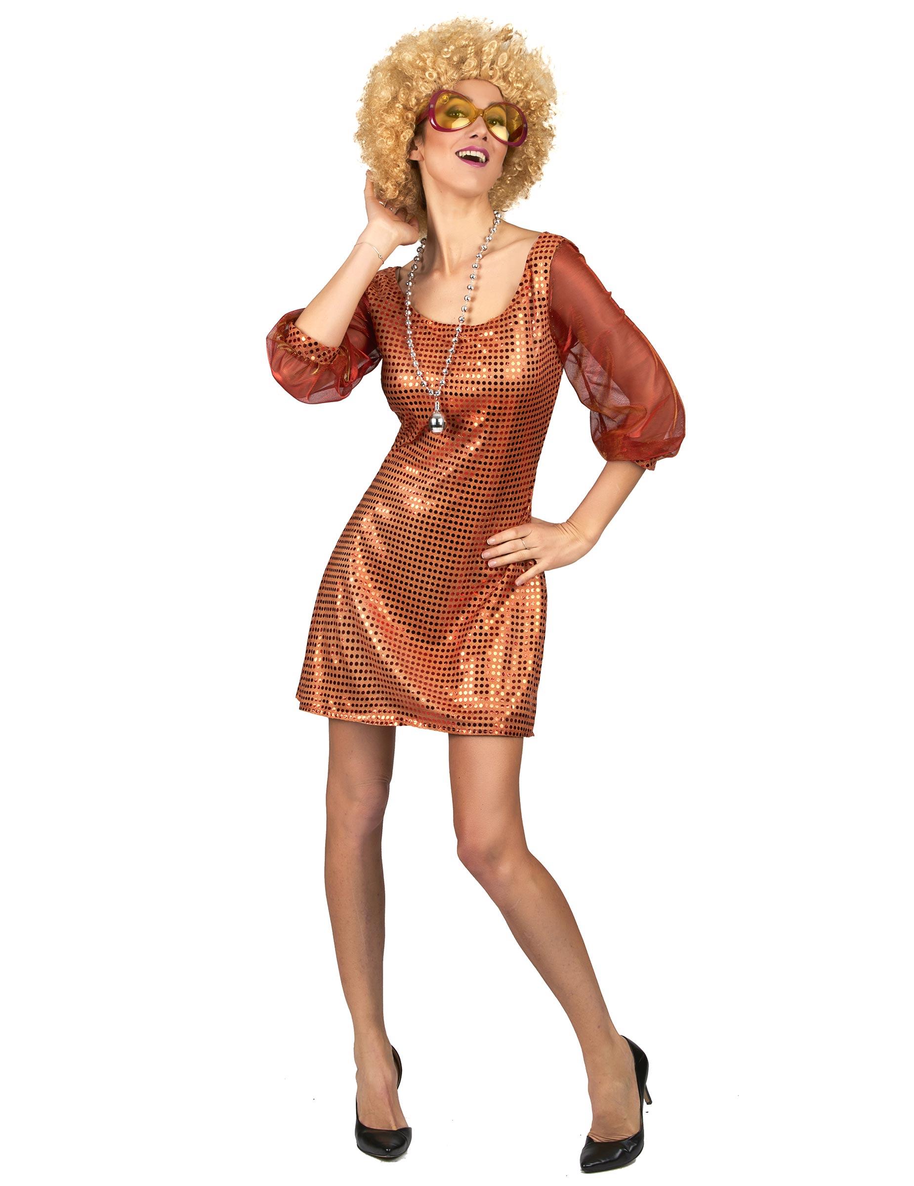 d guisement robe disco orange paillette femme deguise. Black Bedroom Furniture Sets. Home Design Ideas