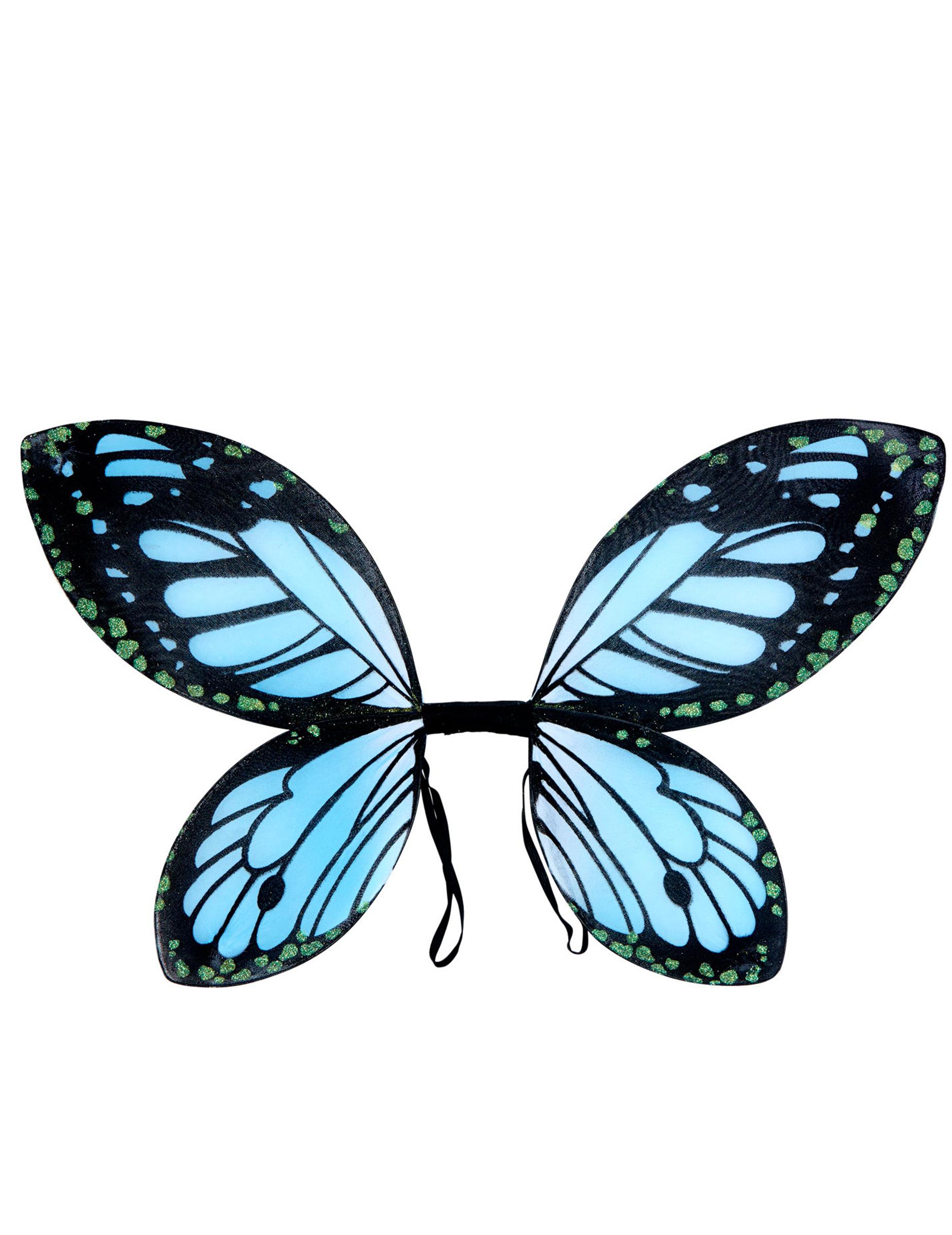 Aile De Papillon ailes papillon noires et bleue fille : deguise-toi, achat de accessoires