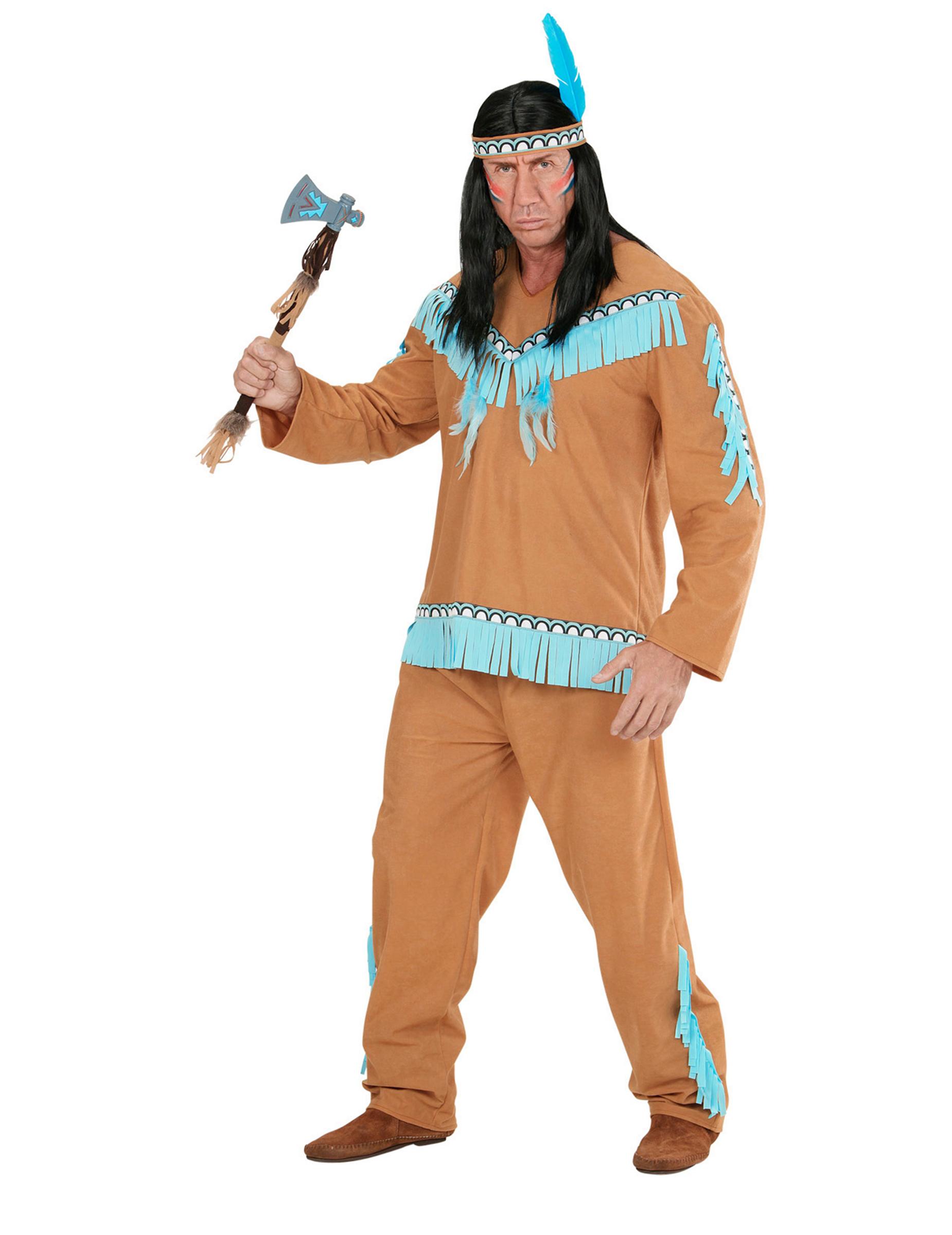 d guisement indien marron et bleu homme deguise toi achat de d guisements adultes. Black Bedroom Furniture Sets. Home Design Ideas