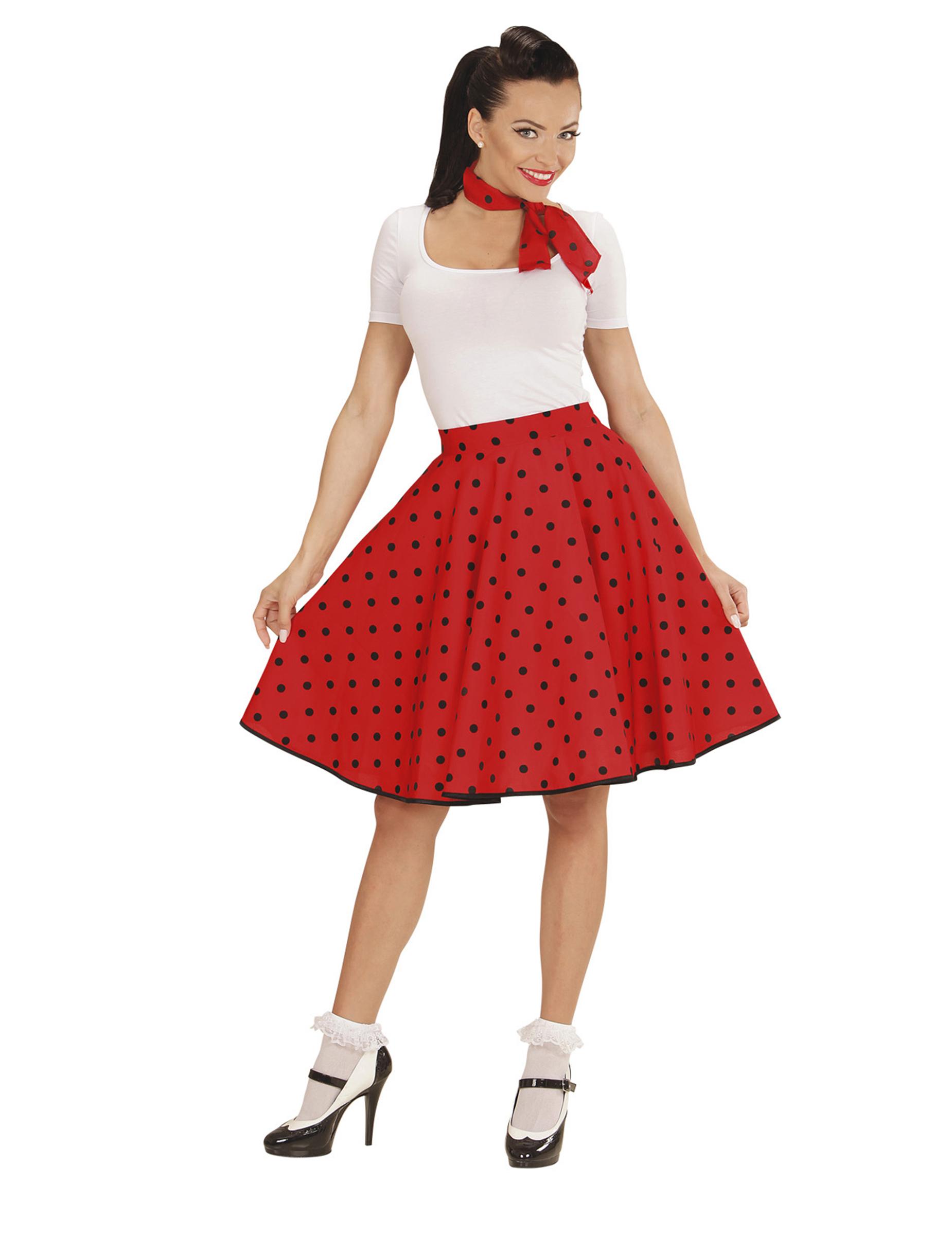 jupe et foulard rouge pois ann es 50 femme deguise toi. Black Bedroom Furniture Sets. Home Design Ideas