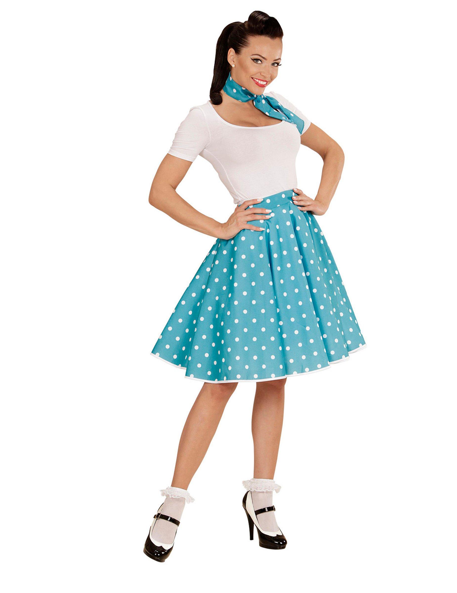 ffa29084199c Jupe et foulard turquoise à pois années 50 femme   Deguise-toi ...