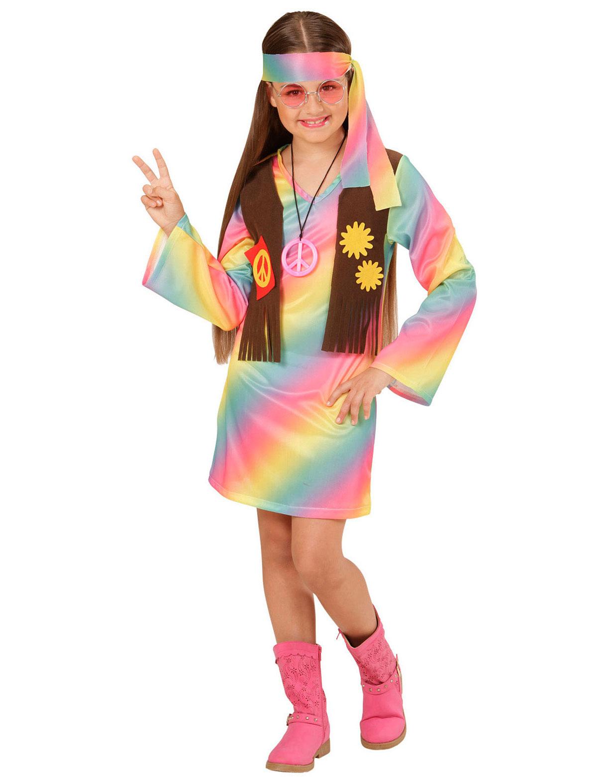 bb48f1f82d3d0b Déguisement hippie multicolore pastel fille
