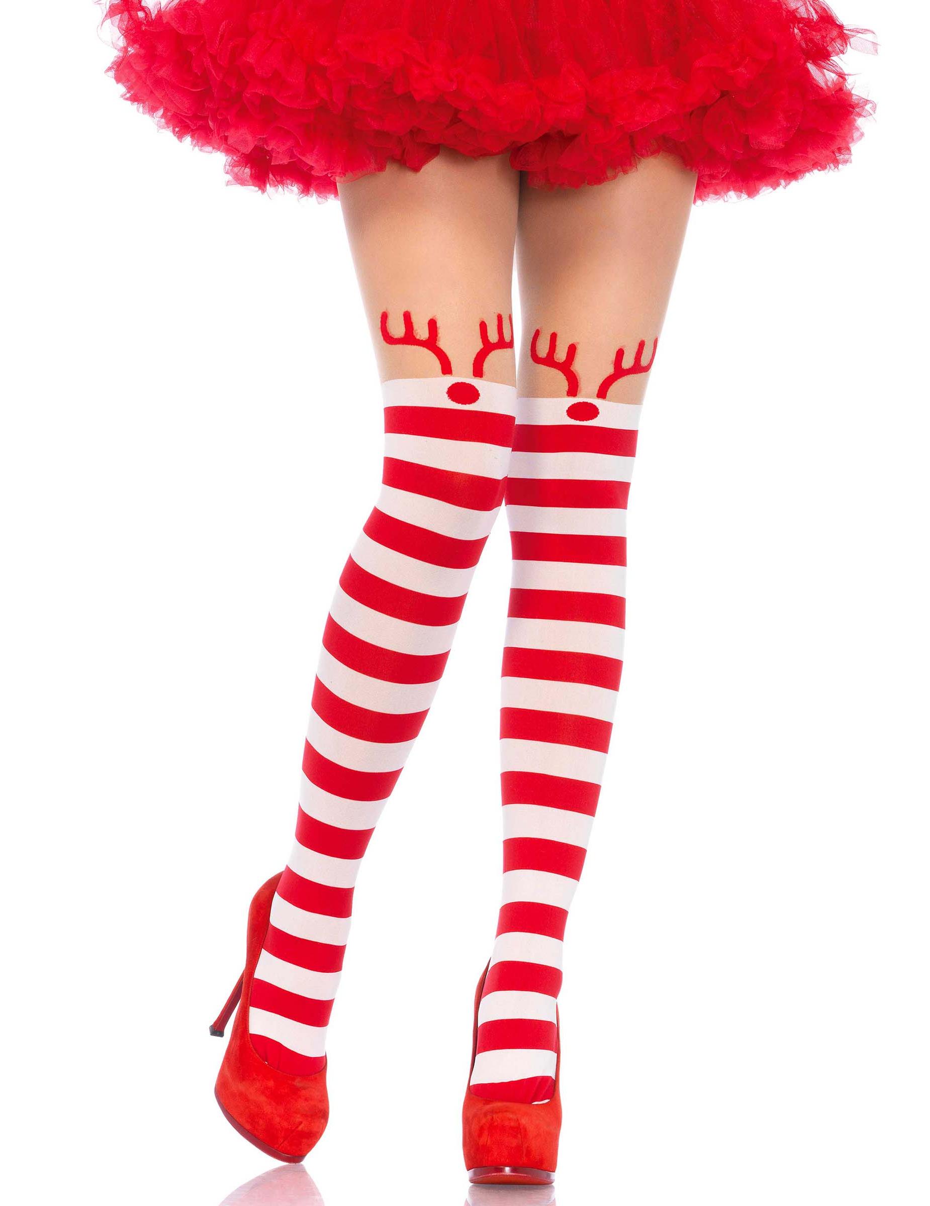 Collant Noel Collants rayés rouge et blancs petit renne femme : Deguise toi