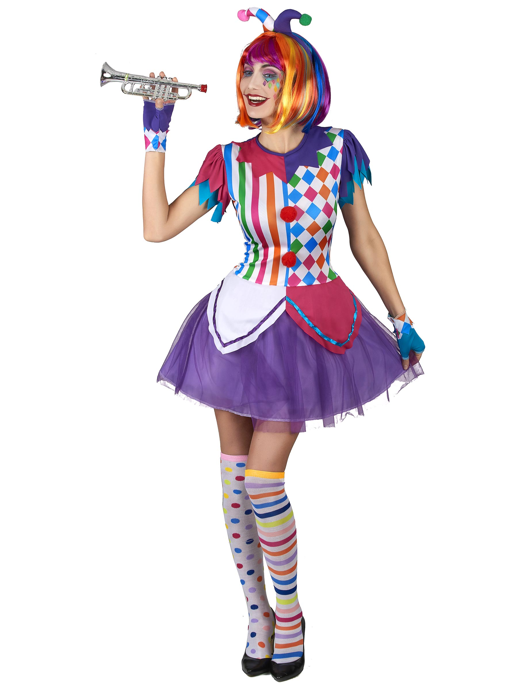 7f6f1c74b31 Déguisement arlequin pompons colorés femme