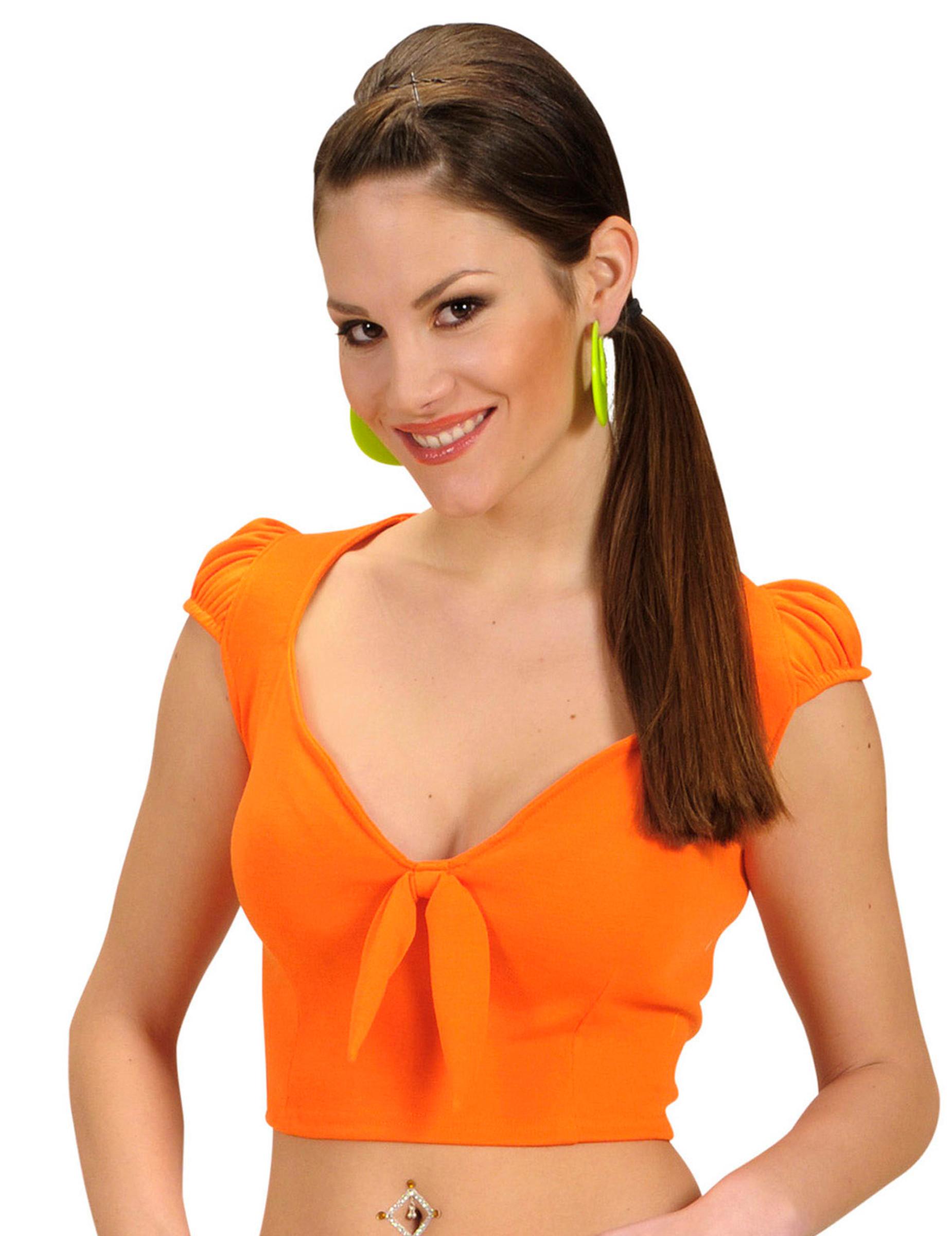 44f04f320d0e0 Top orange avec noeud sexy femme   Deguise-toi, achat de ...