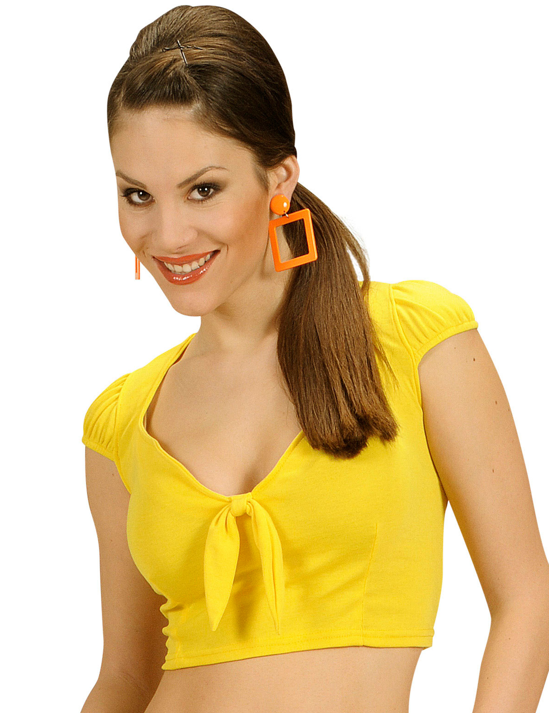 37d5a253724ec Top jaune avec noeud sexy femme   Deguise-toi, achat de Déguisements ...