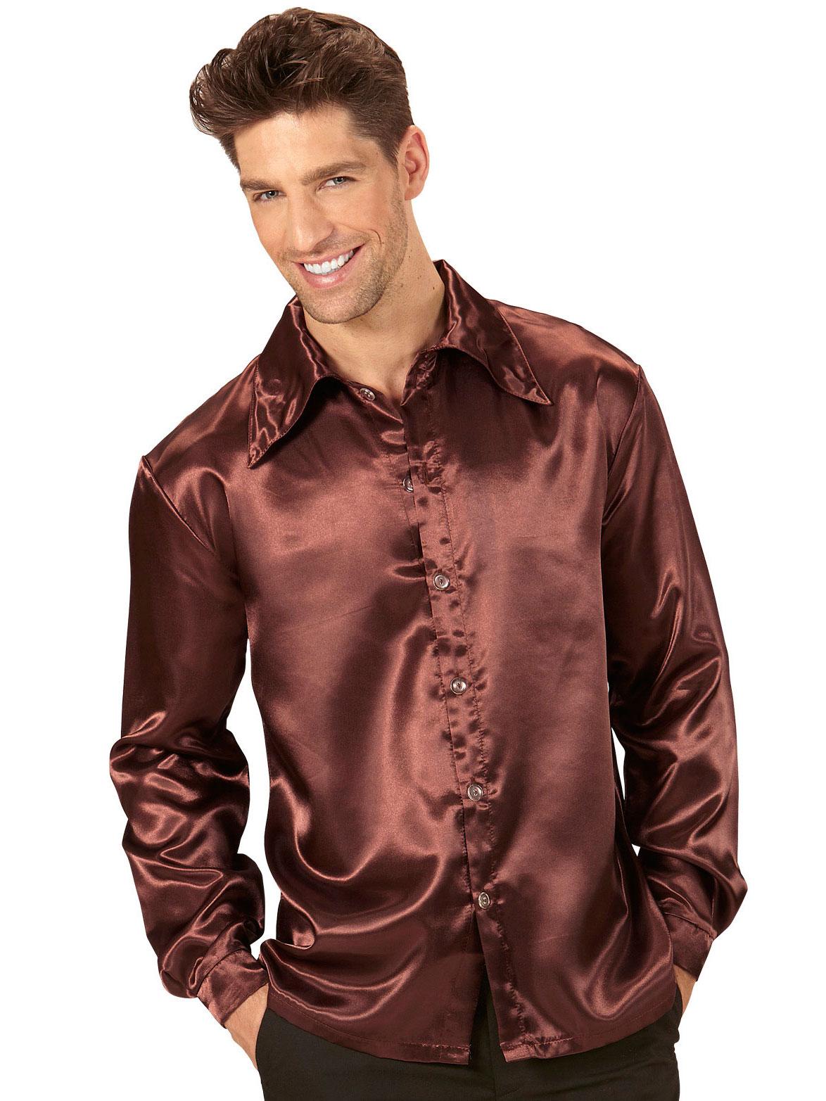 chemise satin e marron homme deguise toi achat de d guisements adultes. Black Bedroom Furniture Sets. Home Design Ideas