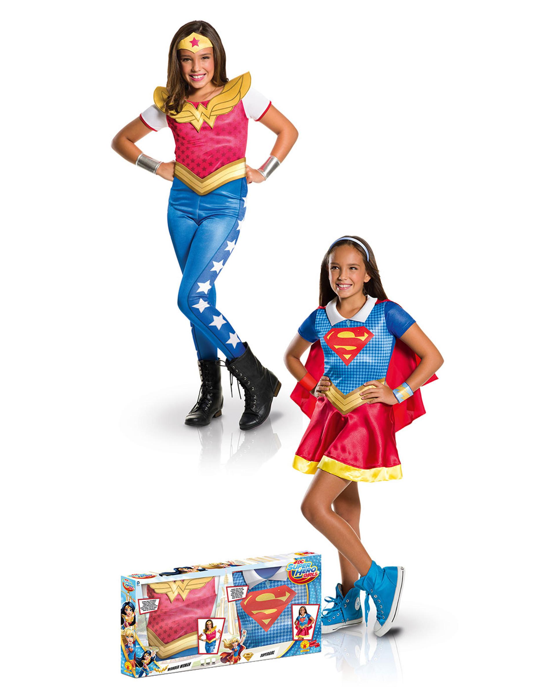 coffret d guisements supergirl et wonder woman fille deguise toi achat de d guisements enfants. Black Bedroom Furniture Sets. Home Design Ideas