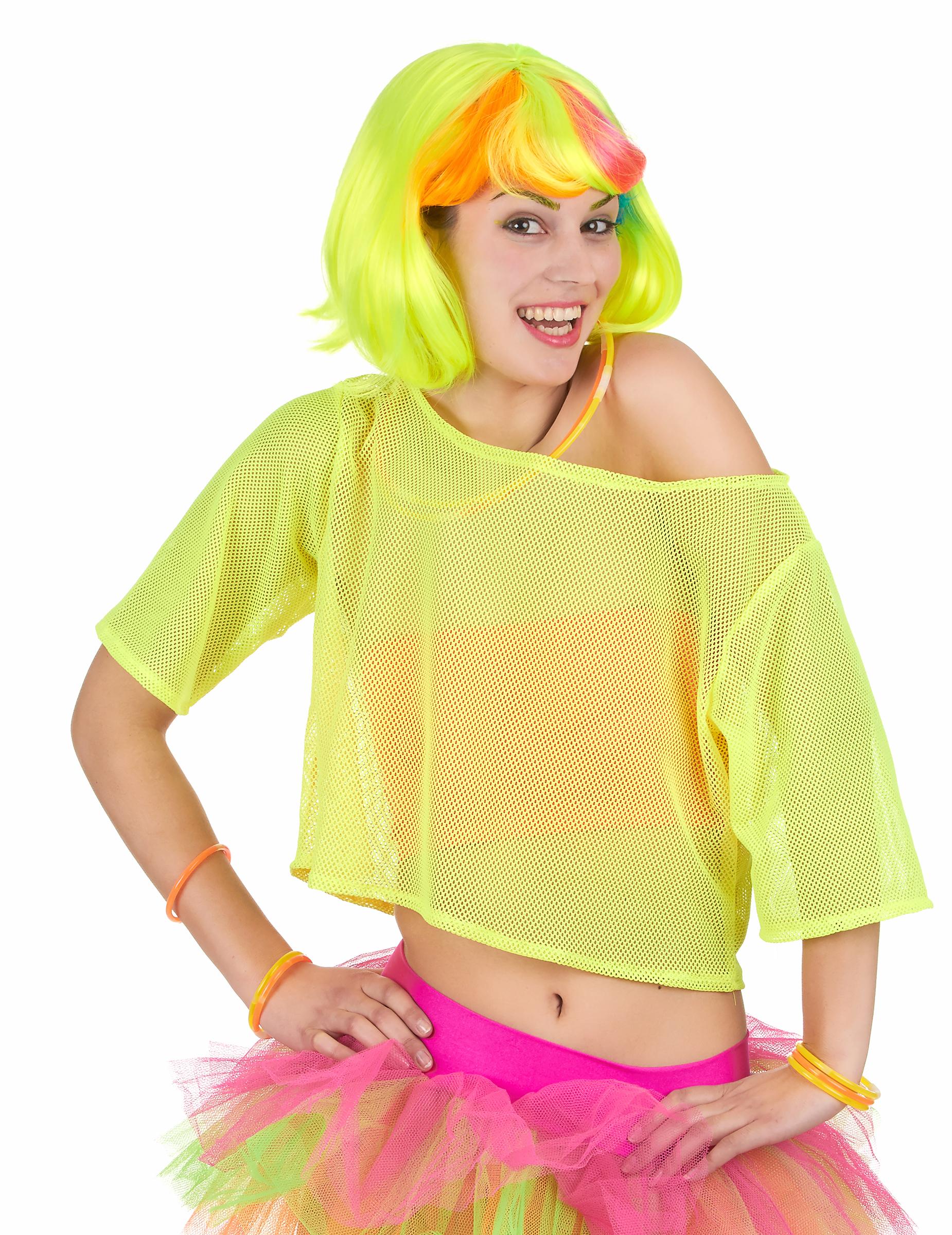 T-shirt court résille jaune années 80 femme : Deguise-toi, achat de Déguisements adultes