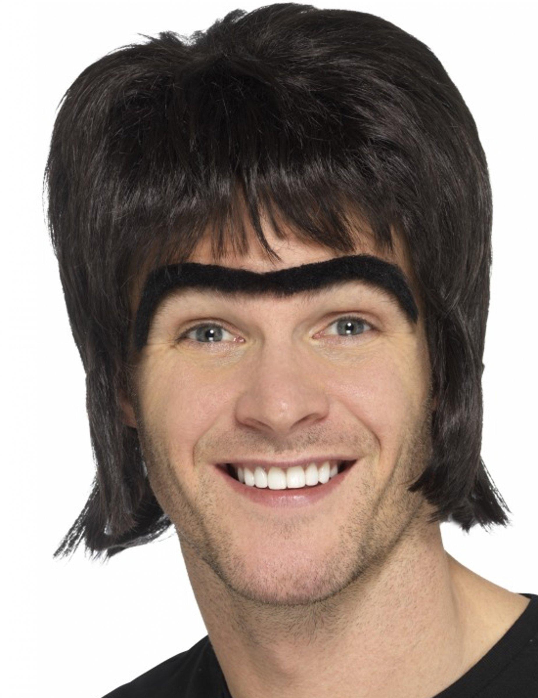 Perruque noire et mono sourcil homme : Deguise-