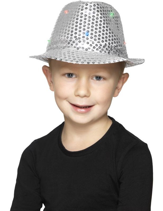Chapeau borsalino argent à sequins avec LED adulte   Deguise-toi ... 3907137ecec