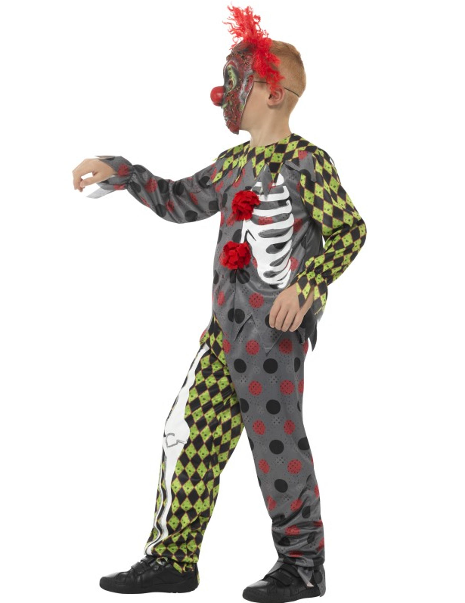d guisement squelette clown fou enfant halloween deguise. Black Bedroom Furniture Sets. Home Design Ideas