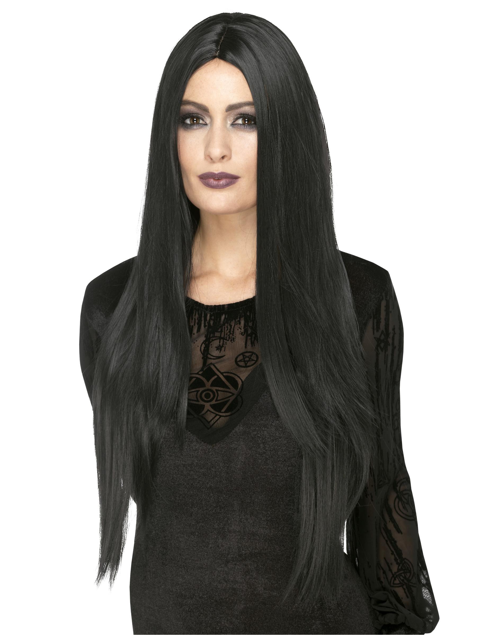 Perruque longue noire résistante à la chaleur