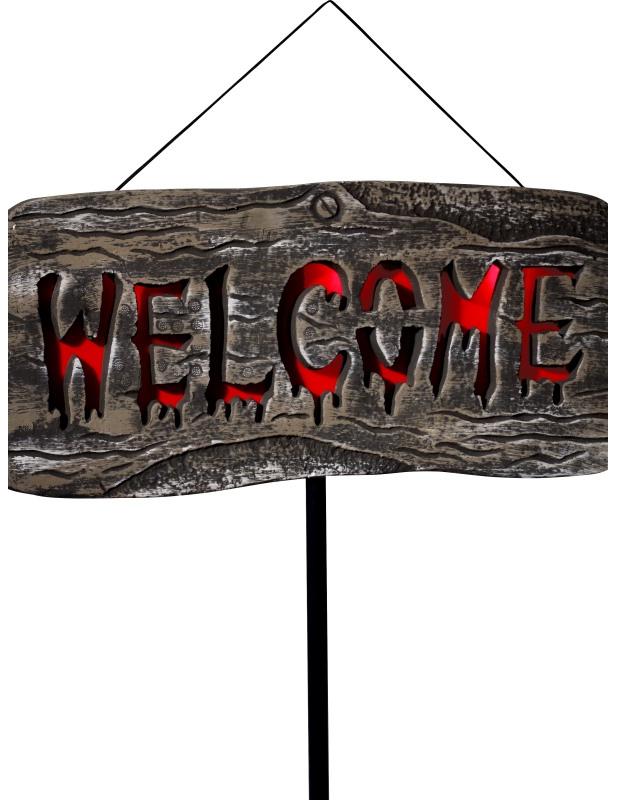 panneau ext rieur lumineux welcome halloween deguise toi achat de decoration animation. Black Bedroom Furniture Sets. Home Design Ideas