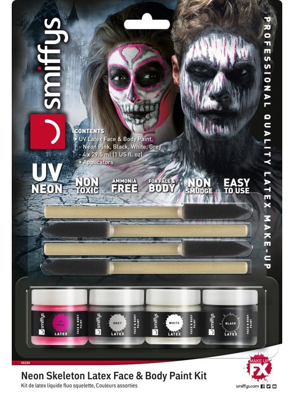 Maquillage latex squelette phosphorescent femme halloween - Maquillage halloween latex ...