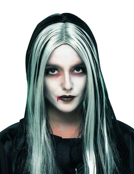 Perruque vampire femme cheveux longs noirs