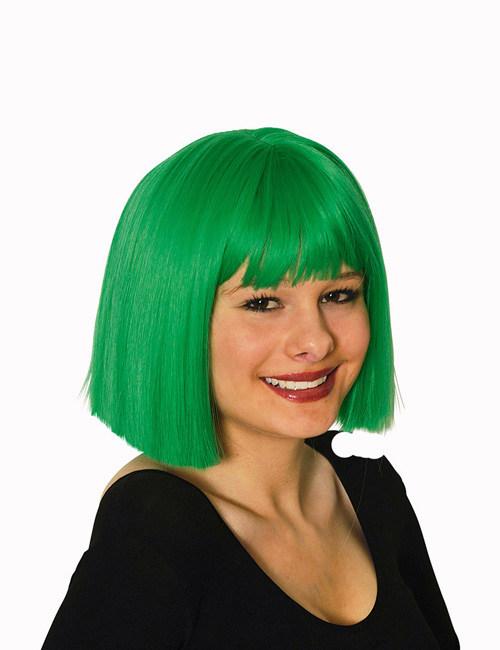 Perruque coupe carrée verte femme : Deguise-