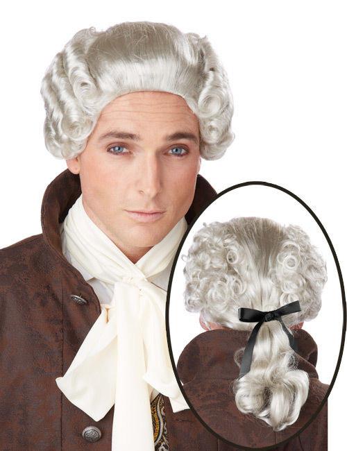 Perruque grise noble baroque homme : Deguise-