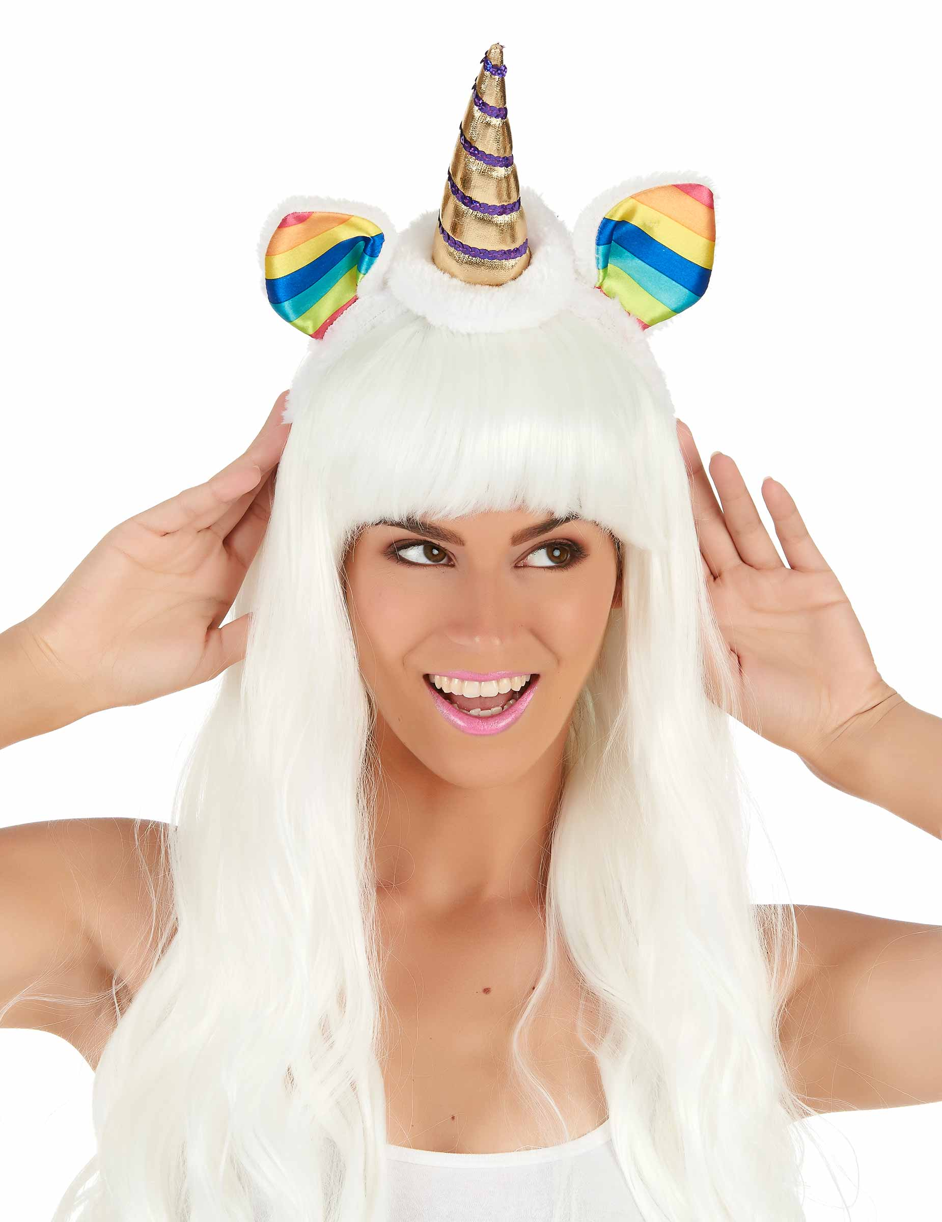 Serre,tête licorne avec oreilles multicolores adulte,1